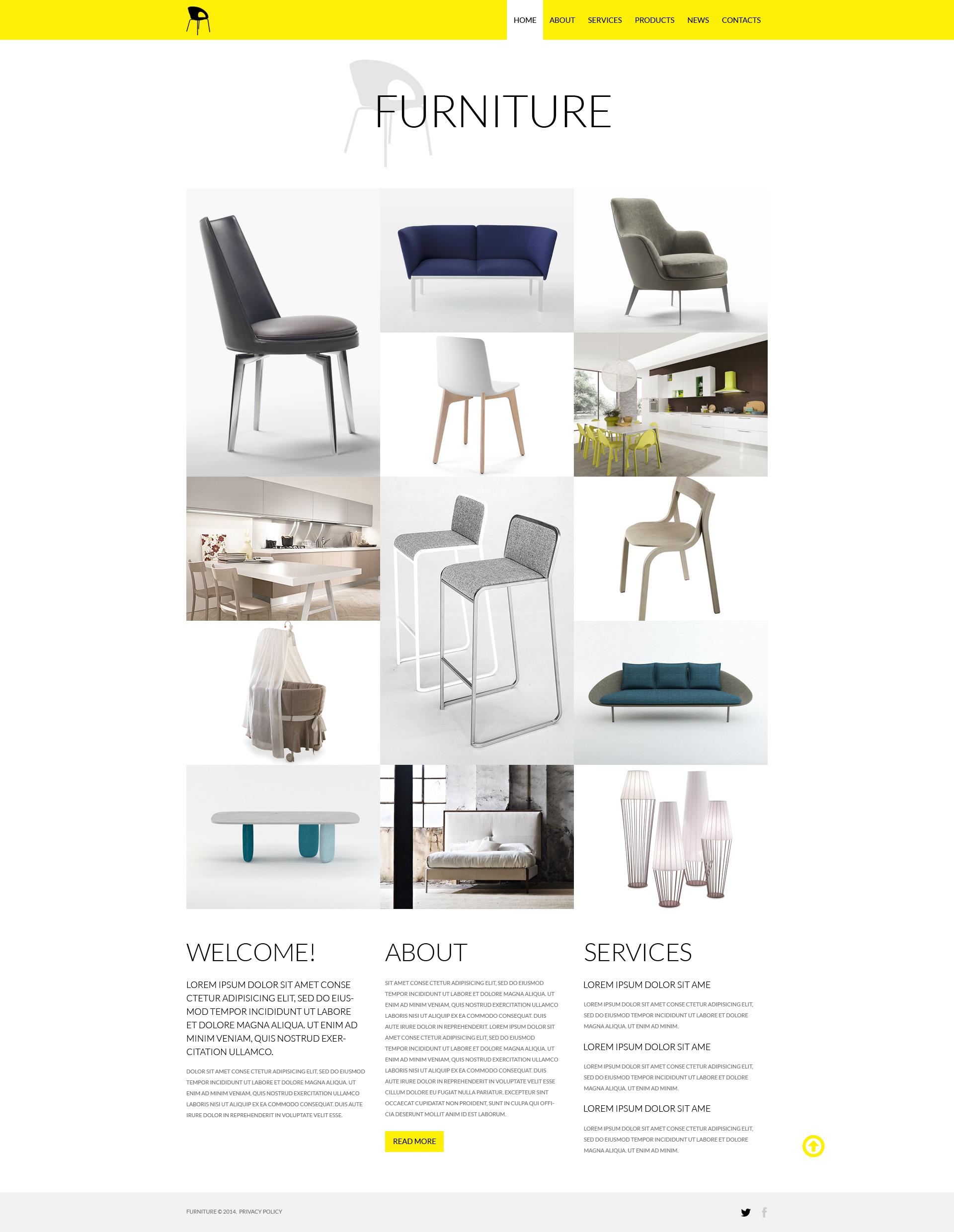 Responsive Website Vorlage für Möbel #50772