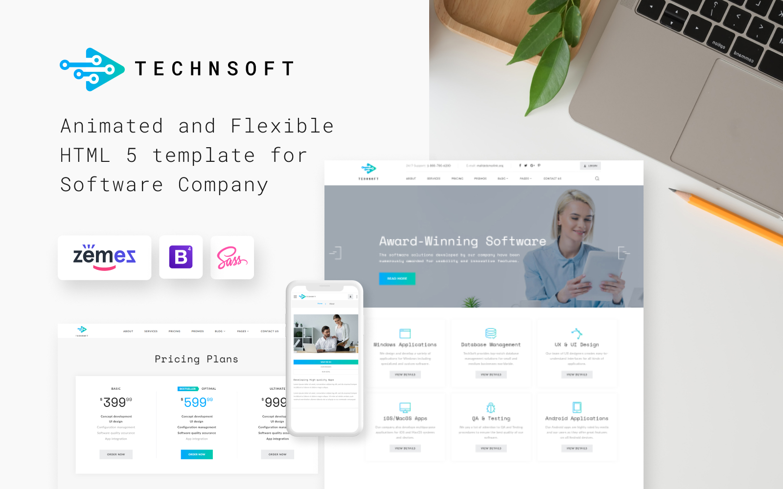 Responsivt TechSoft - Business Software Multipage HTML5 Hemsidemall #50729
