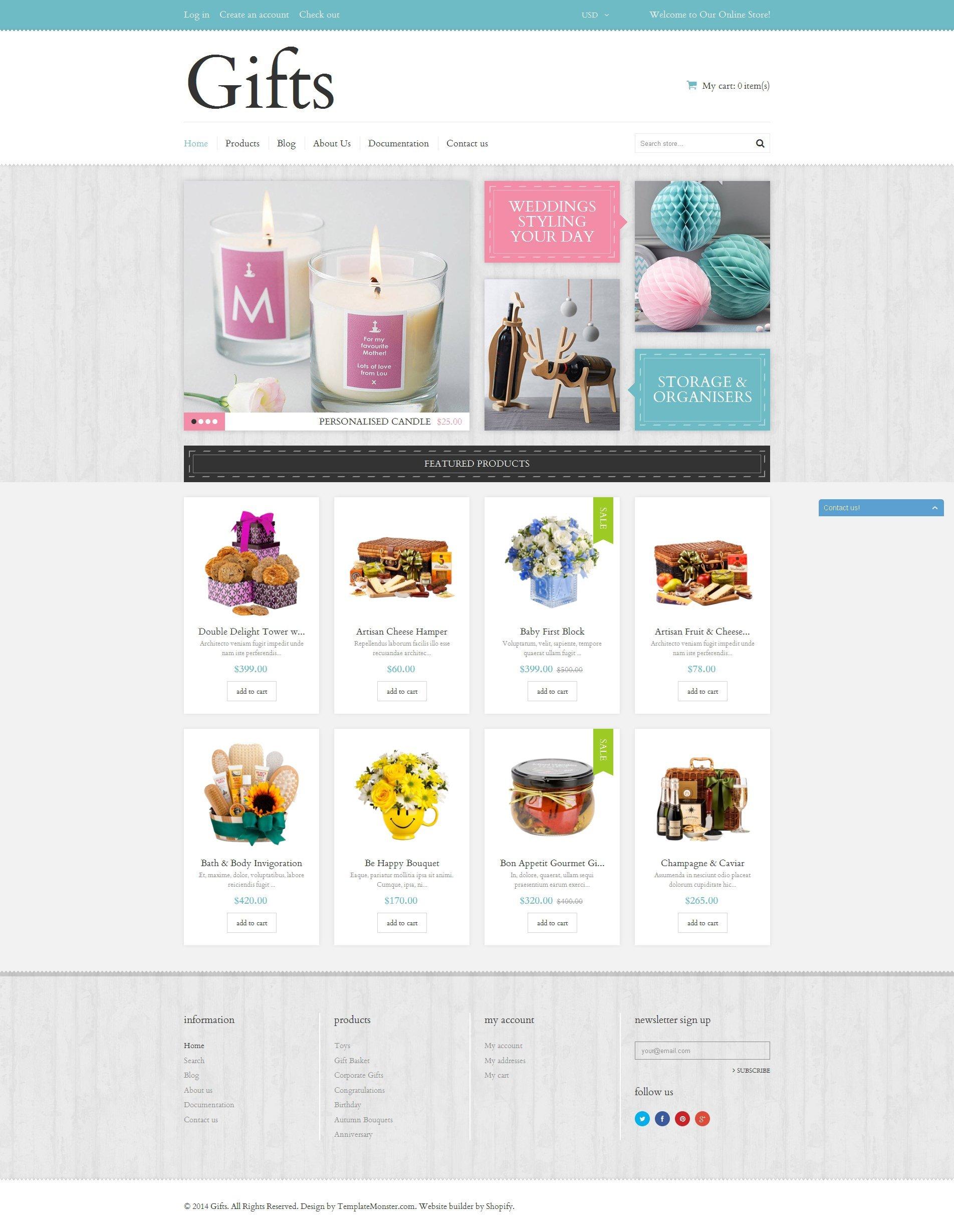 Responsywny szablon Shopify Elegant Gifts #50768