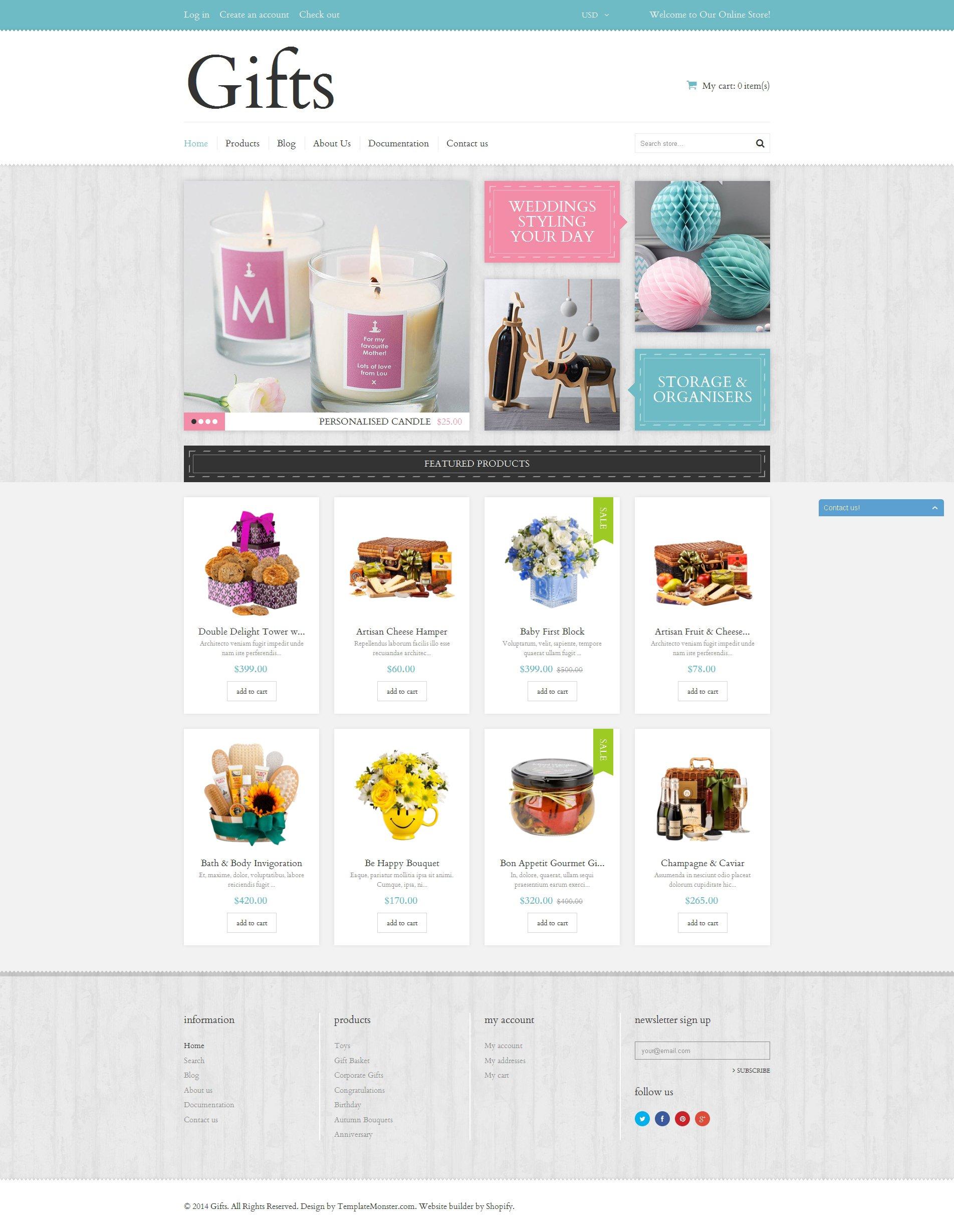 Reszponzív Elegant Gifts Shopify sablon 50768 - képernyőkép
