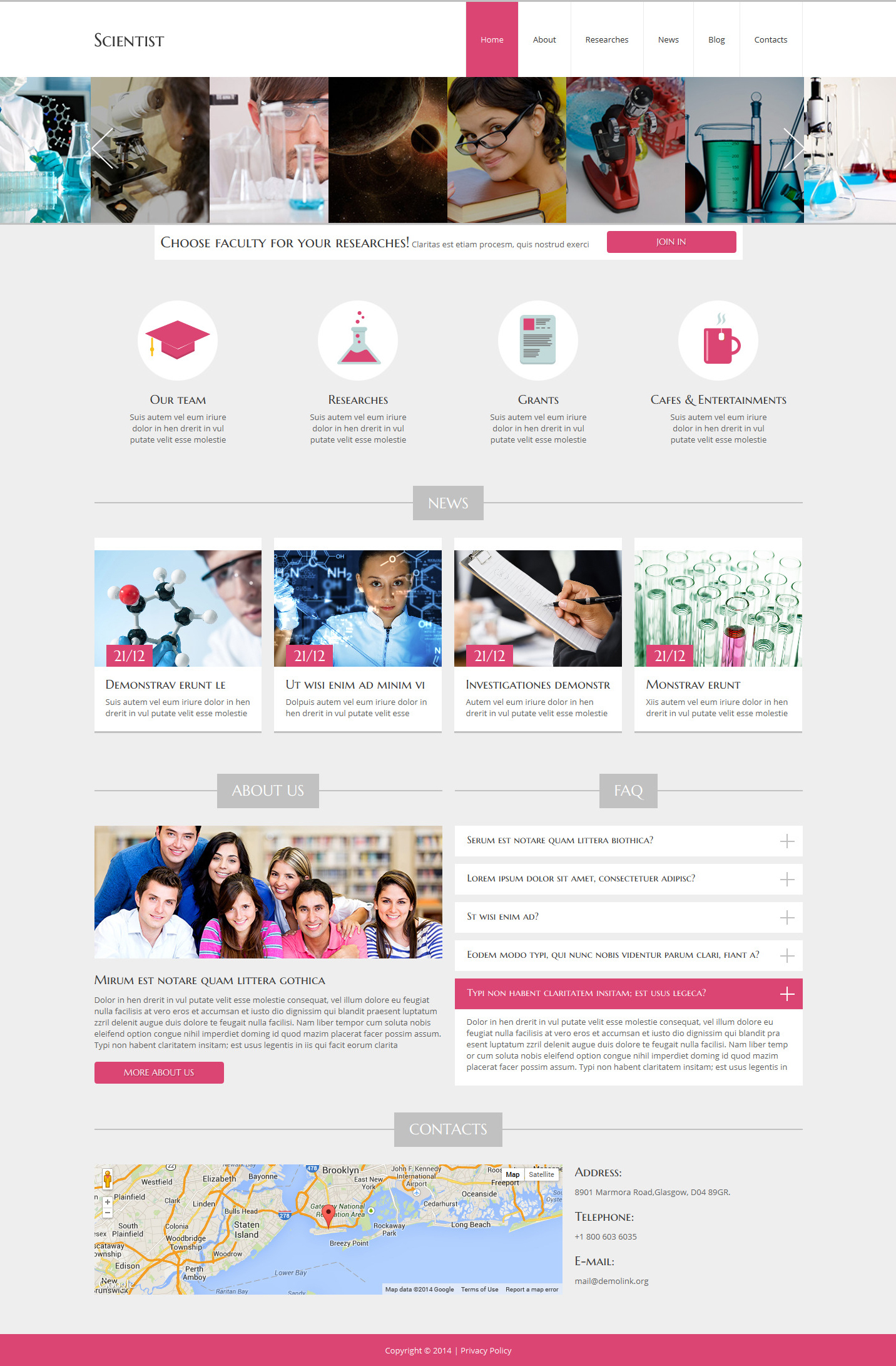 Scientist - Science Lab Clean Joomla Template