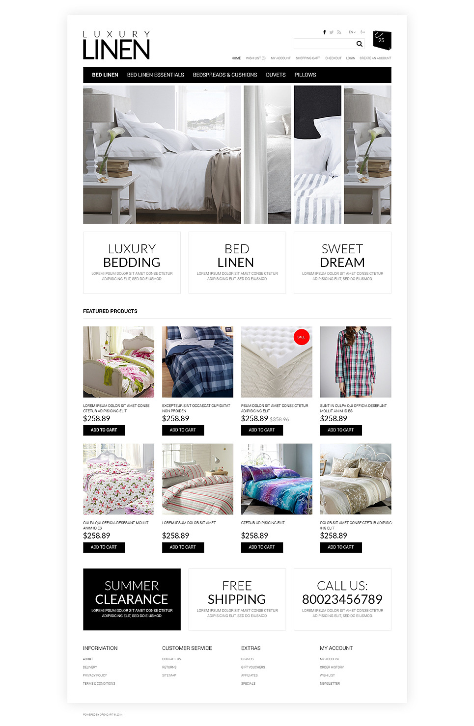 Soft, Luxury Linen OpenCart Template New Screenshots BIG