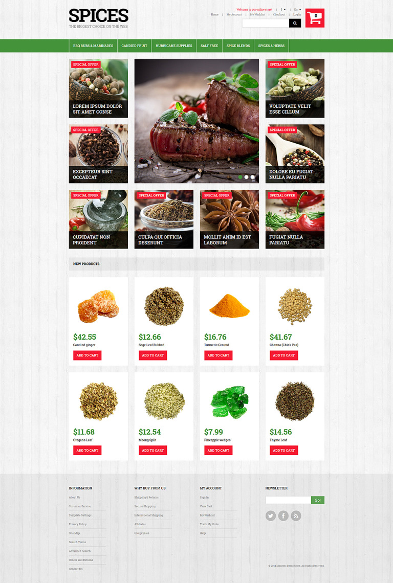 Spiced Dishes for Health Magento Theme New Screenshots BIG