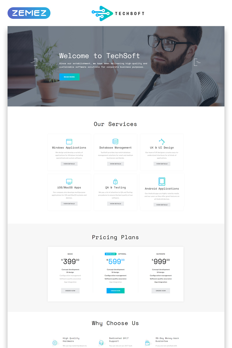 """TechSoft - Business Software Multipage HTML5"" Responsive Website template №50729"