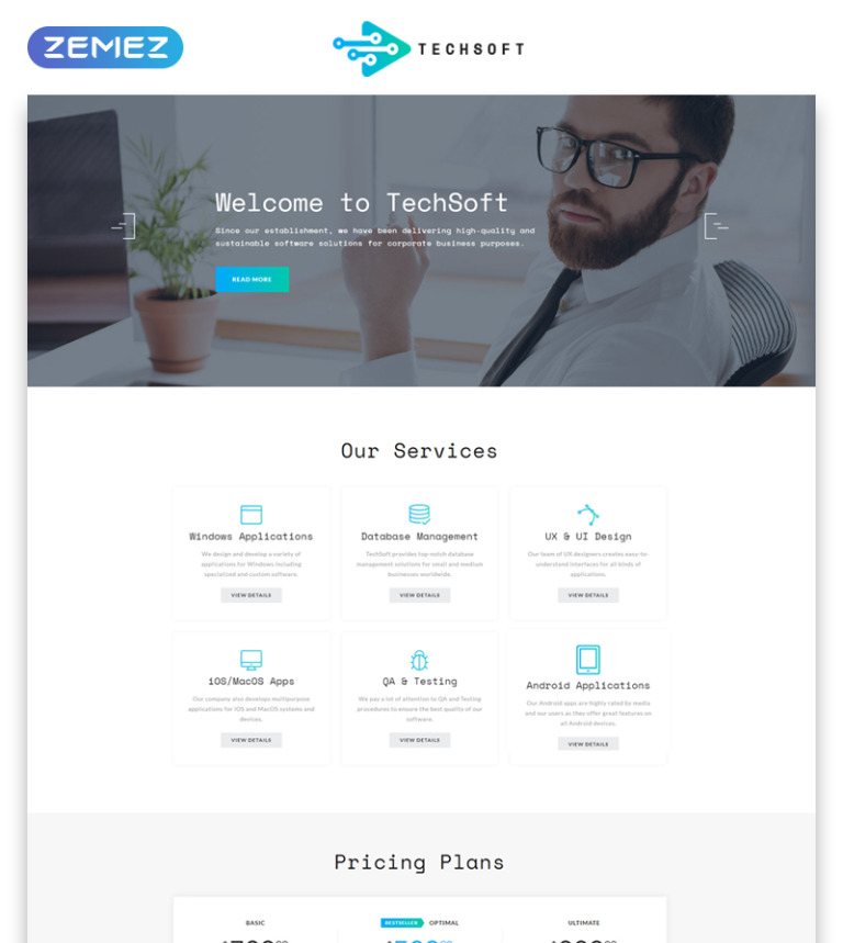 Business software multipage html template techsoft business software multipage html5 website template big screenshot flashek Image collections