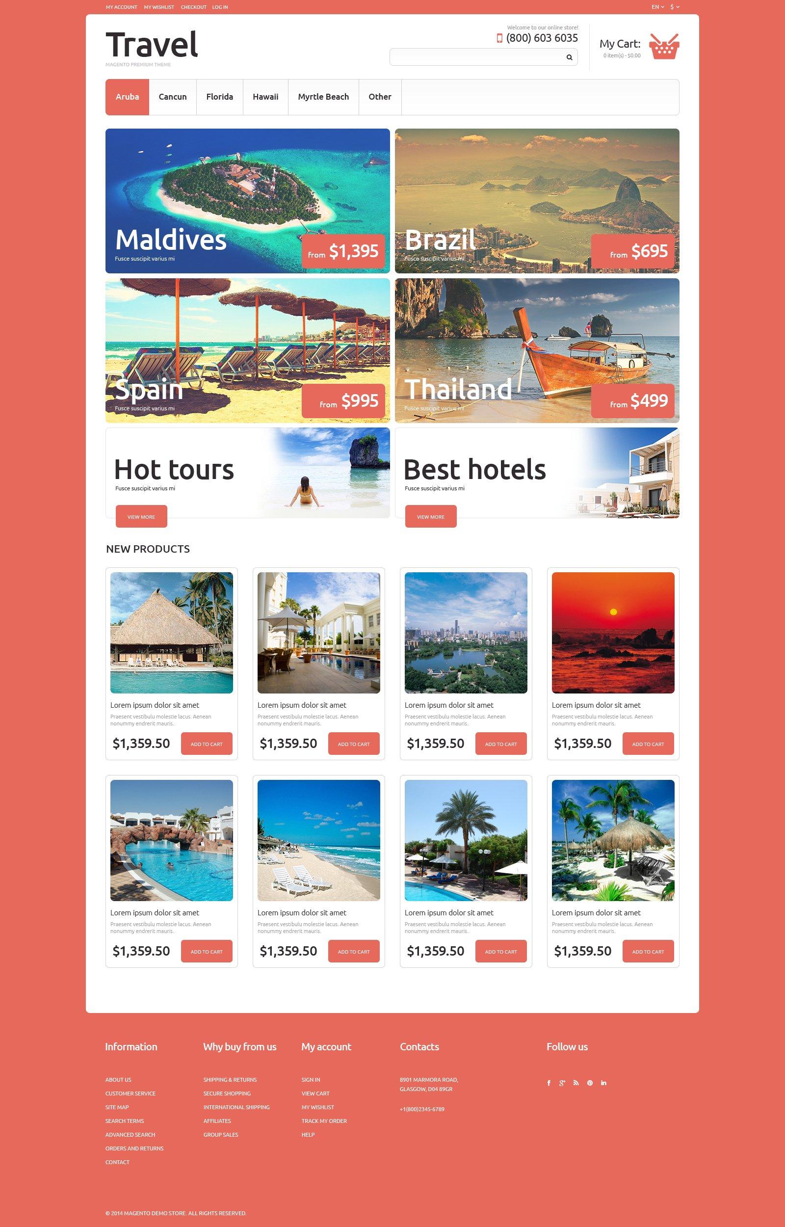 Tema Magento Responsive para Sitio de Agencias de viajes #50702