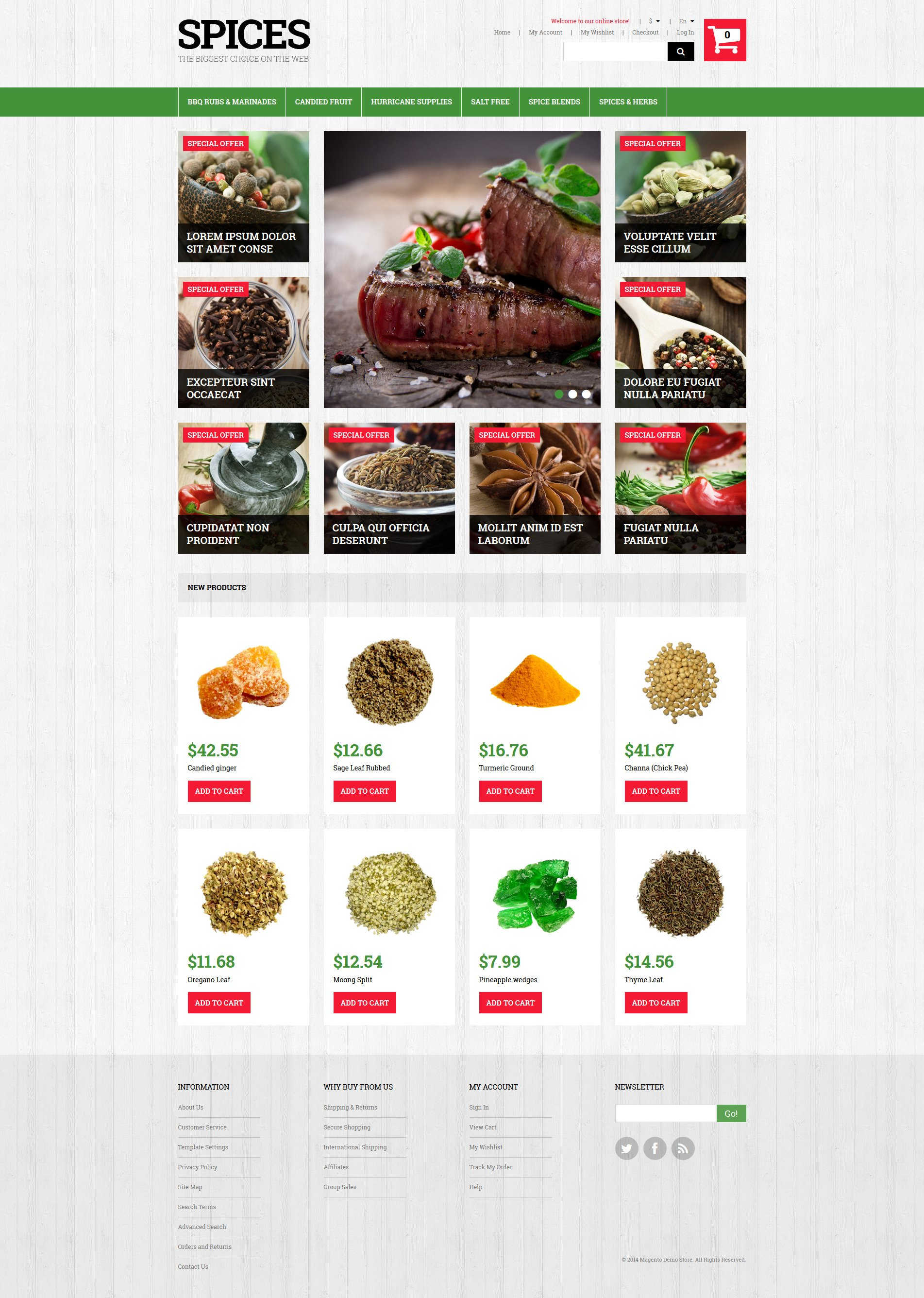 "Tema Magento ""Spiced Dishes for Health"" #50701"