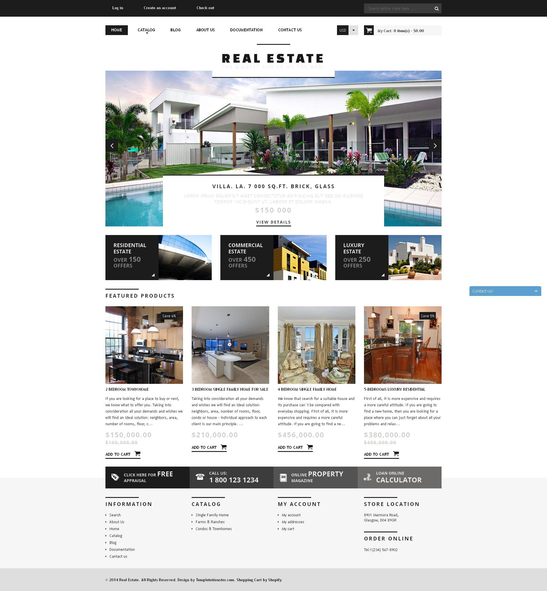 Tema Shopify Responsive para Sitio de Agencias inmobiliarias #50794