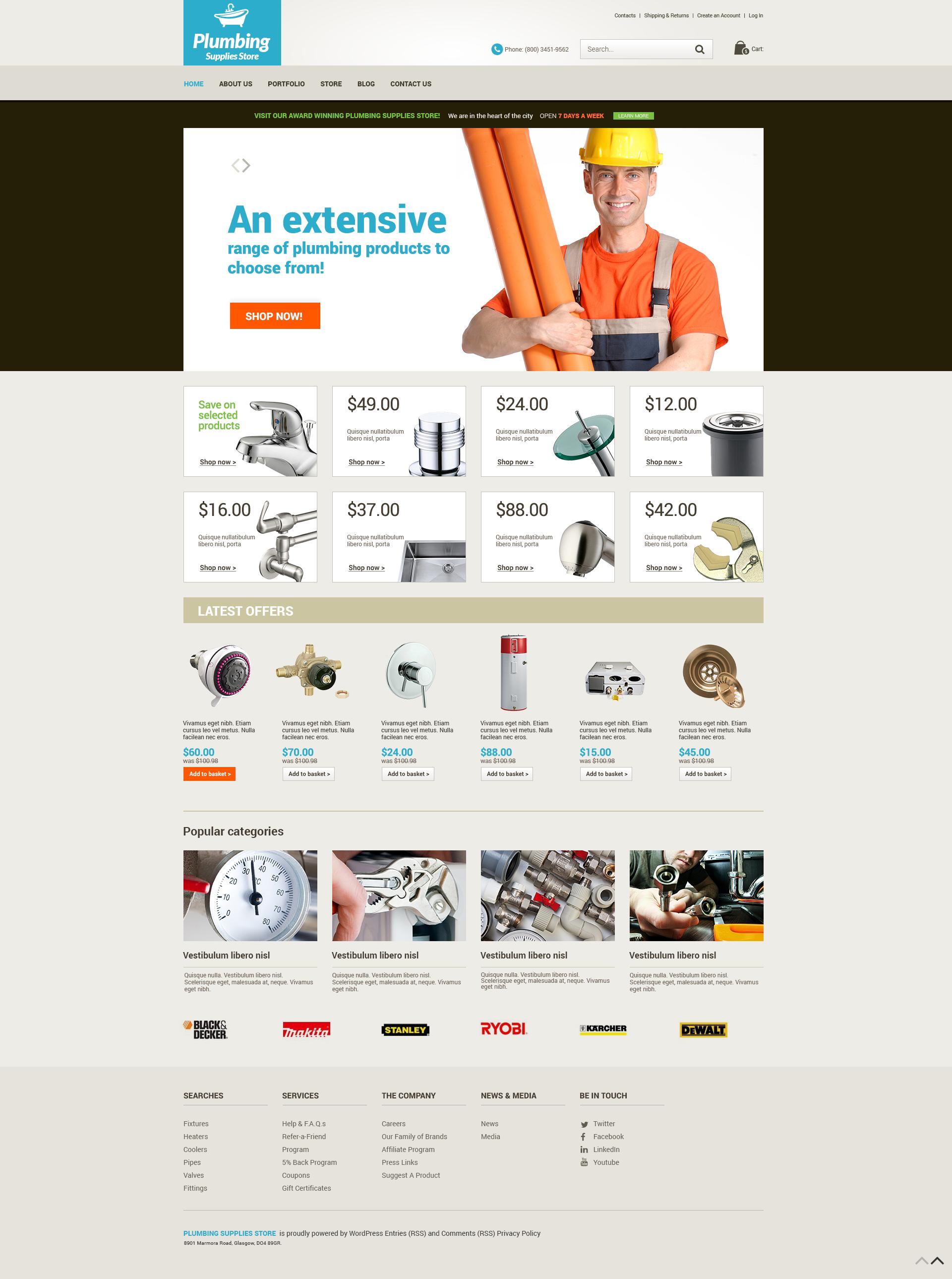 "Tema WooCommerce Responsive #50733 ""Plumbing Renovations"""
