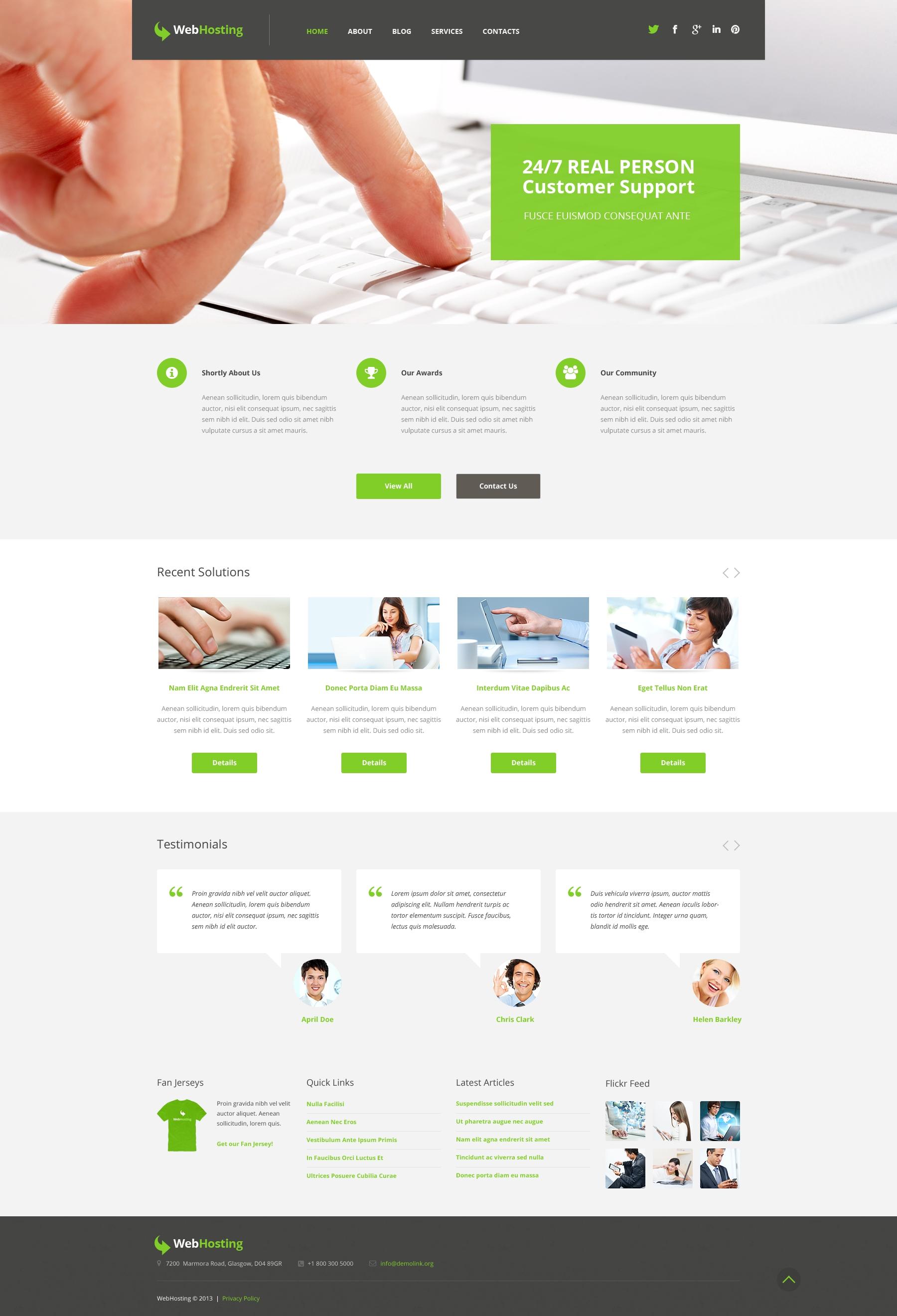 Tema WordPress Flexível para Sites de Hospedagem №50742 - captura de tela