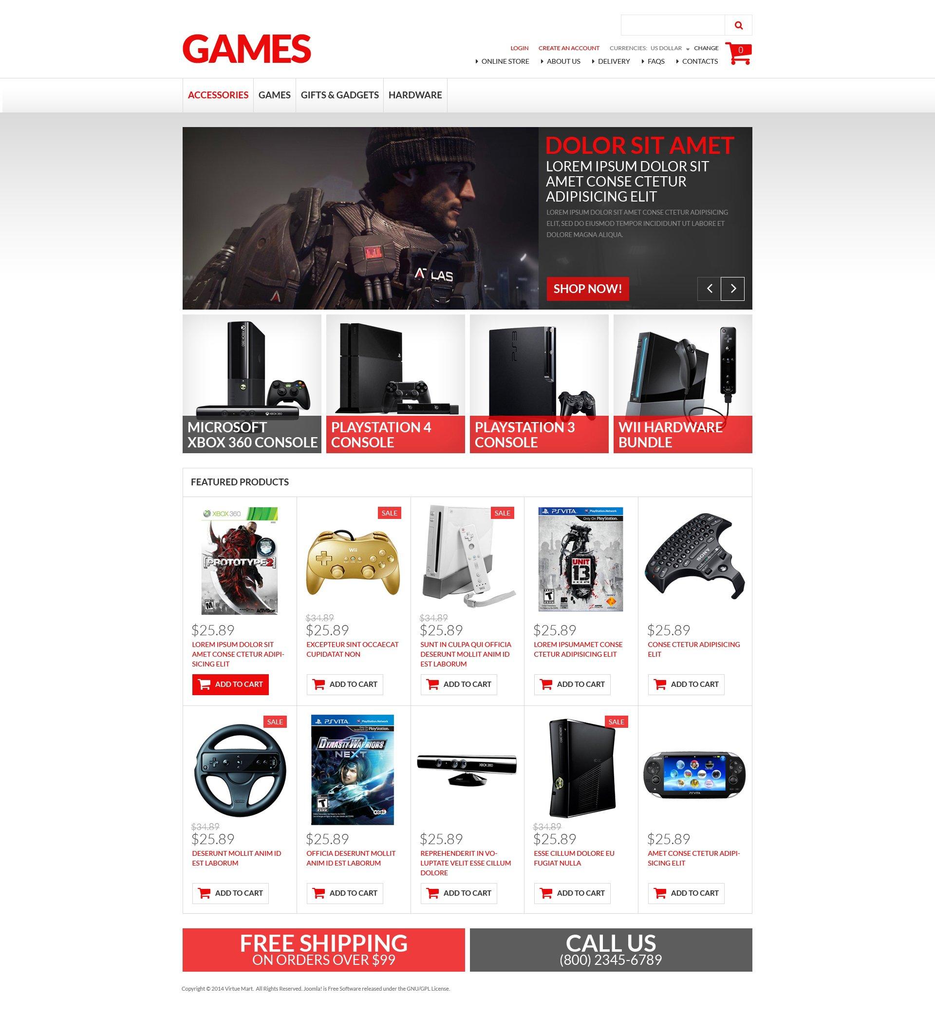 Template VirtueMart para Sites de Jogos №50764