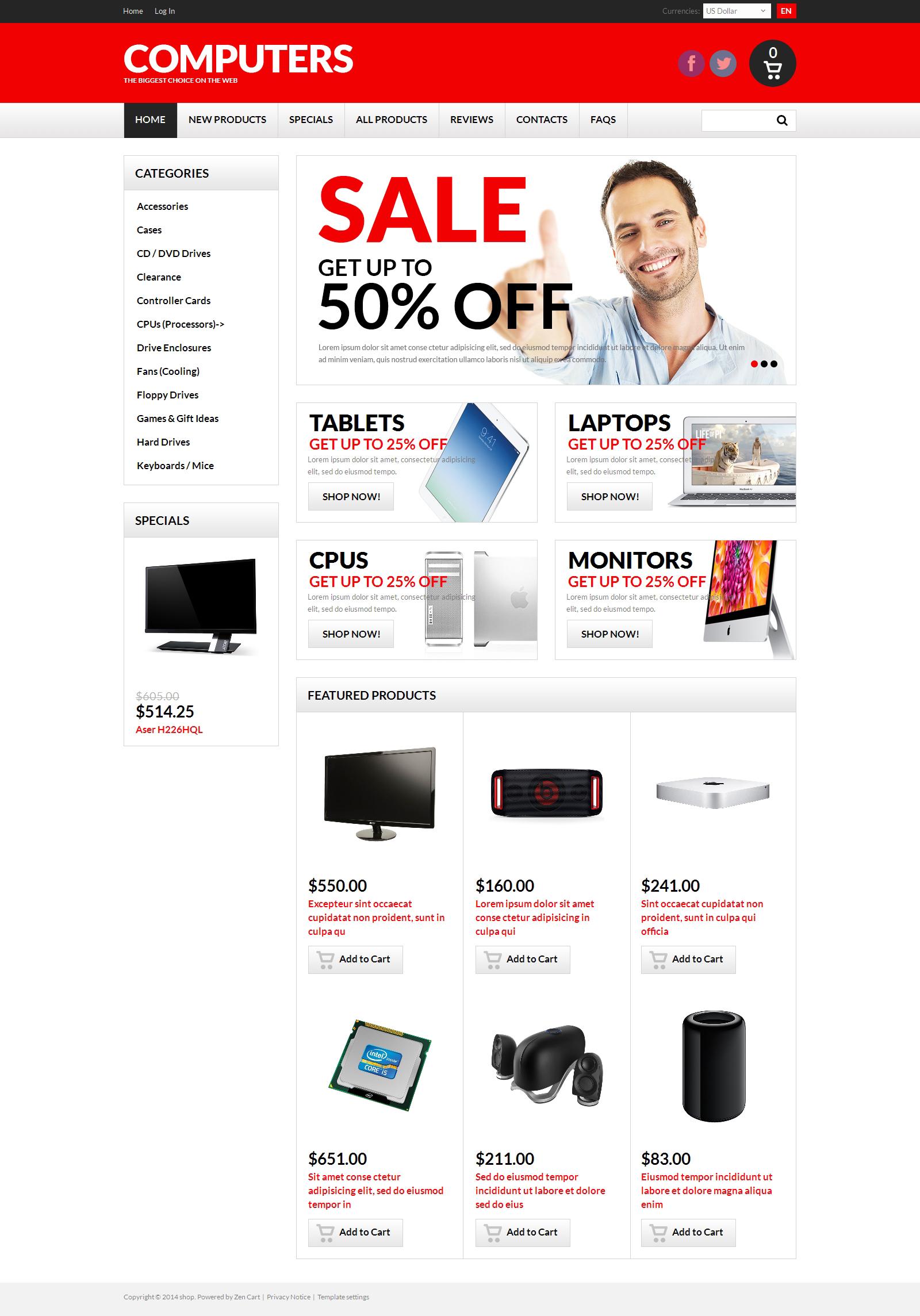 Template ZenCart para Sites de Loja de Informática №50754