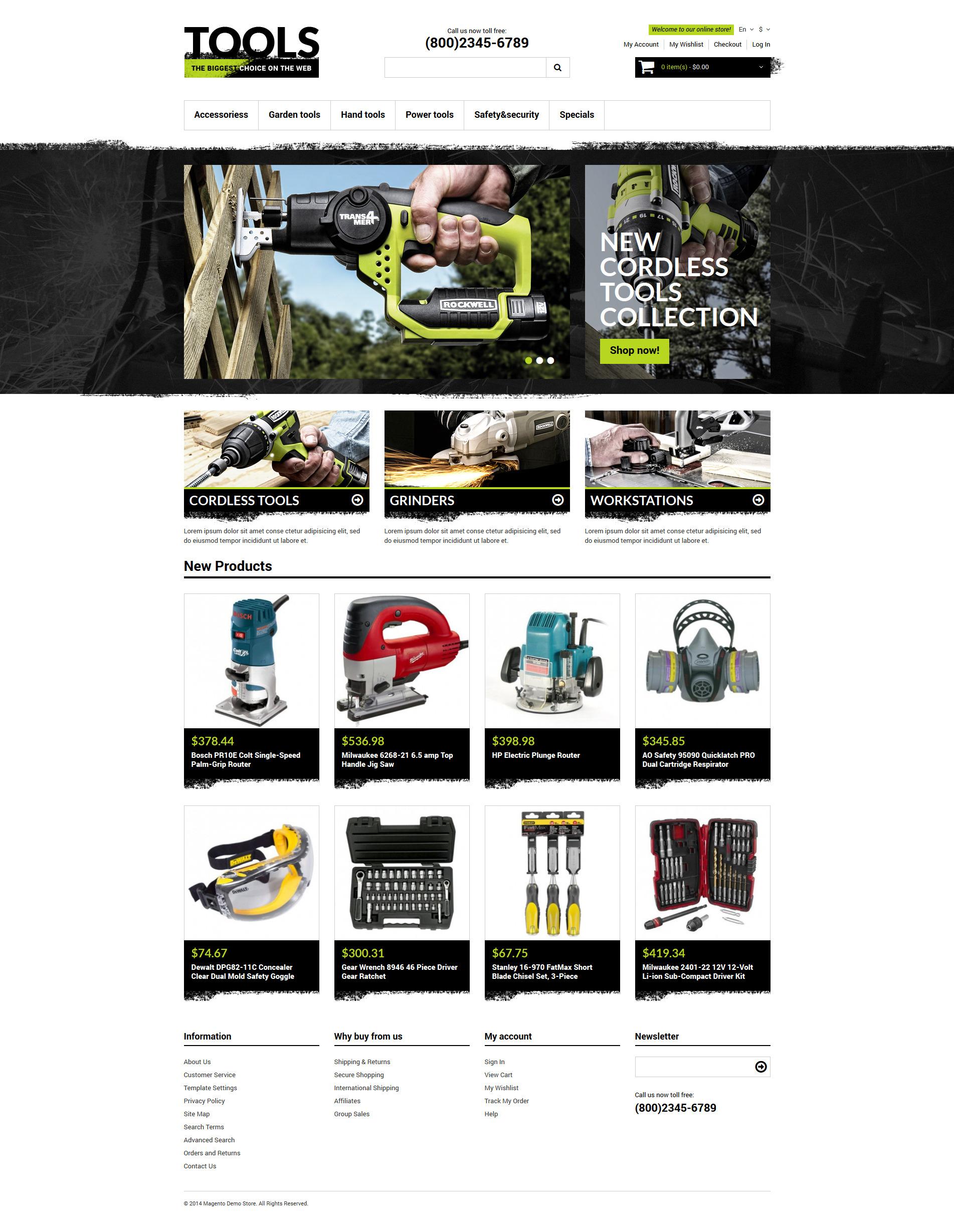 Thème Magento adaptatif pour site d'outils et d'équipement #50780 - screenshot