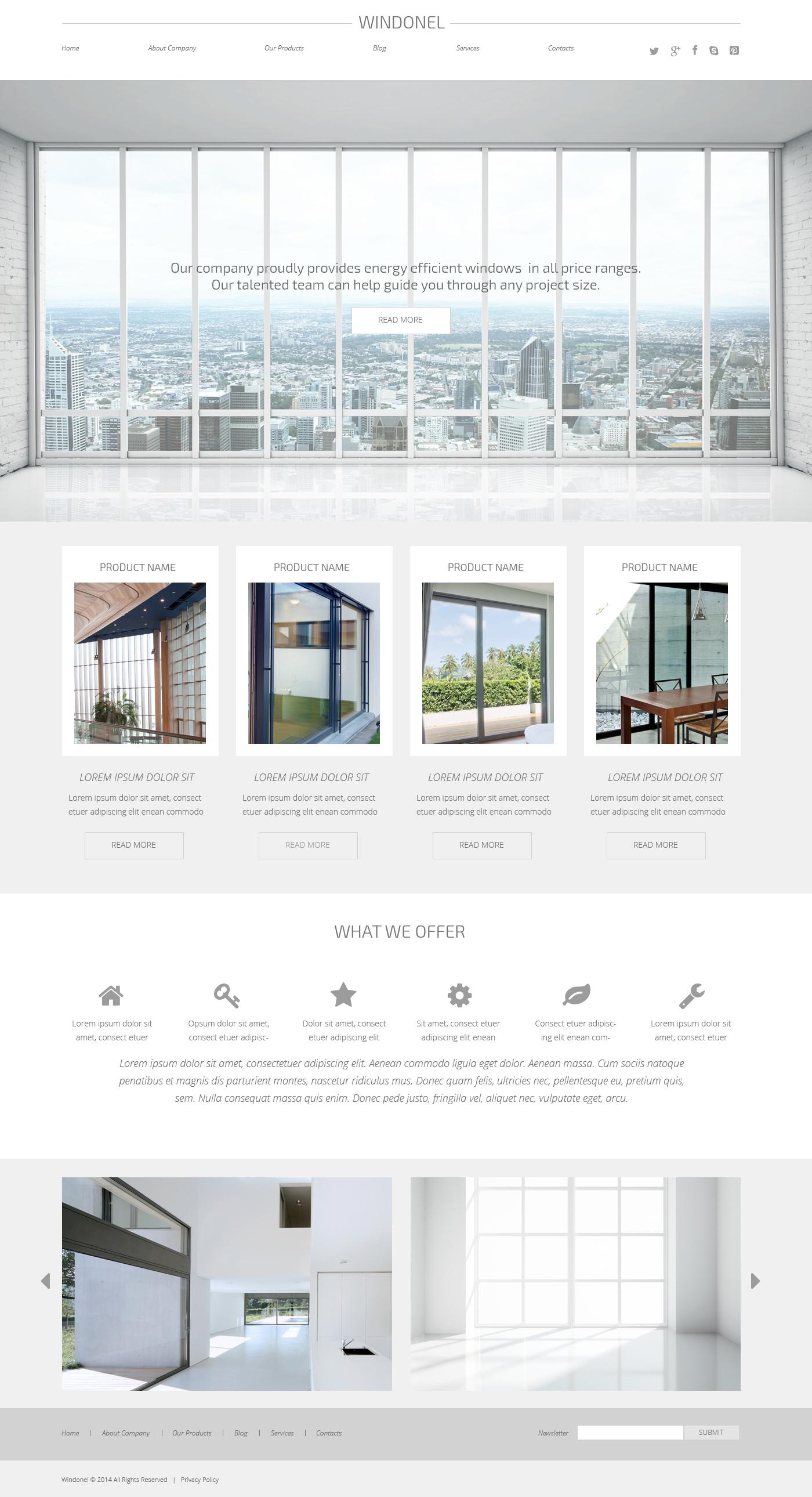 Thème WordPress adaptatif pour site d'entreprises de fenêtres #50739