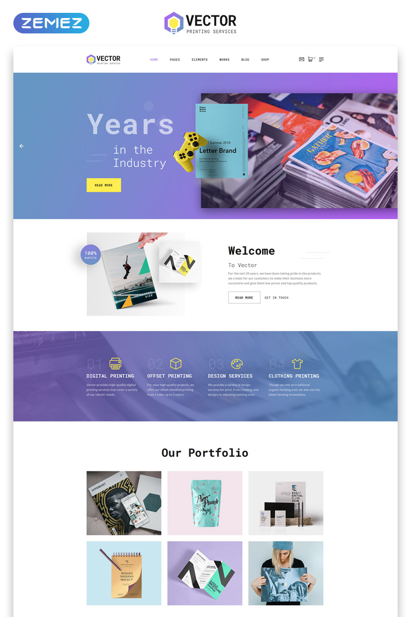 """Vector - Print Shop Multipage Modern HTML"" Responsive Website template №50774 - screenshot"