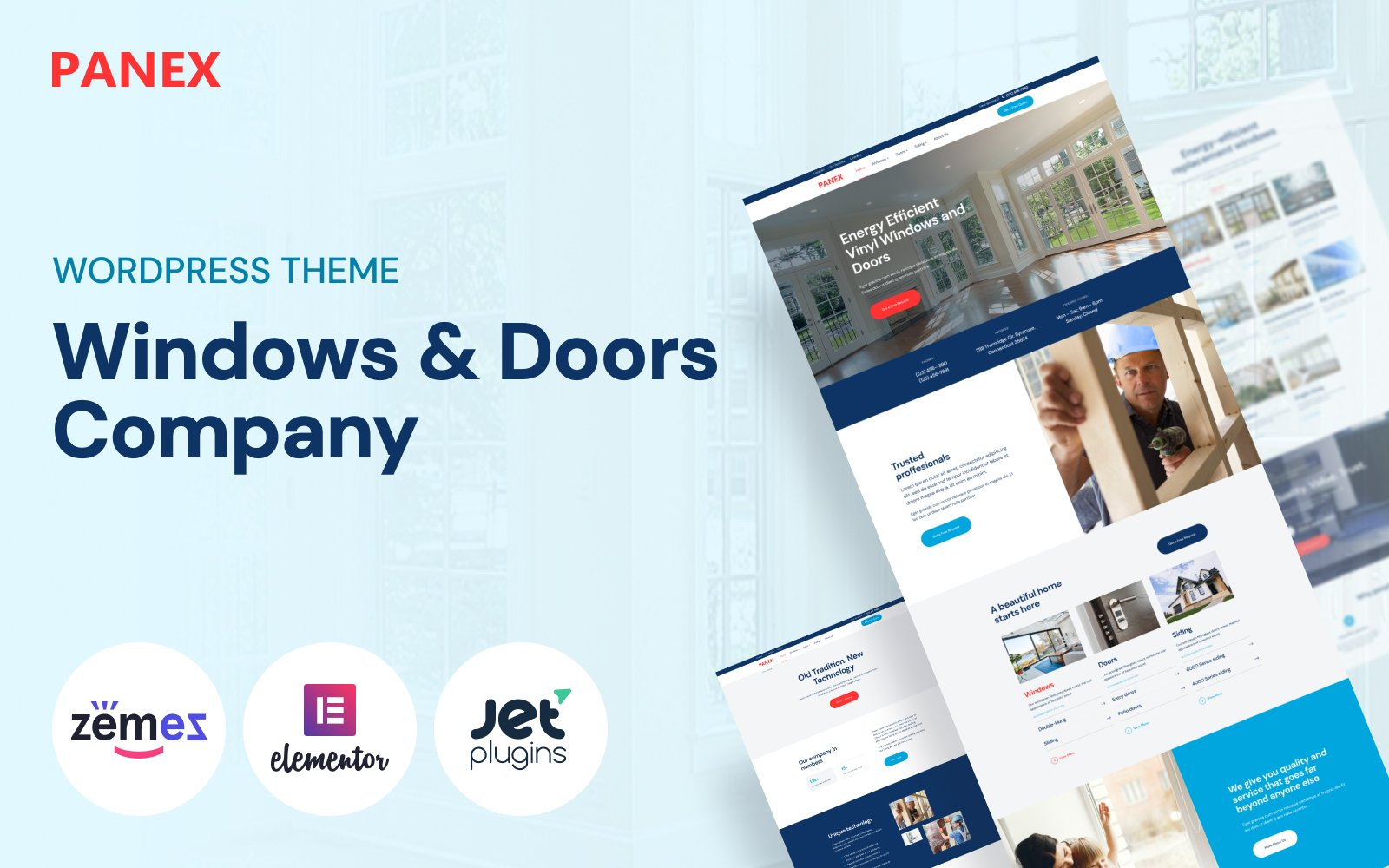 """Windows and Doors WordPress Theme - Panex"" - адаптивний WordPress шаблон №50739"