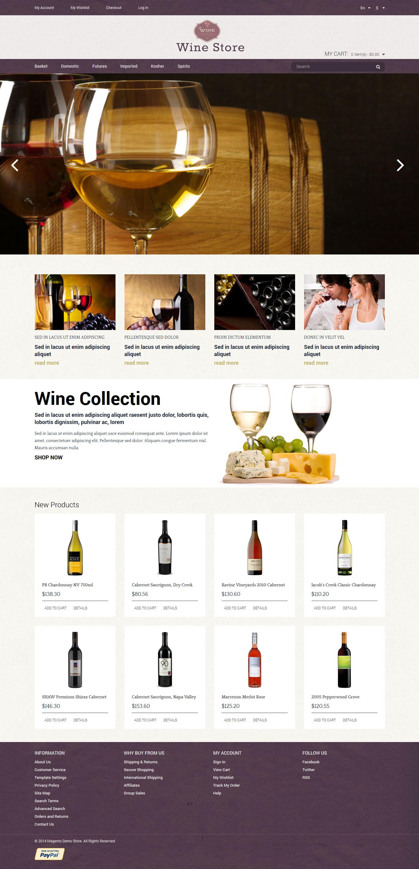 Wine Store Magento Theme - screenshot