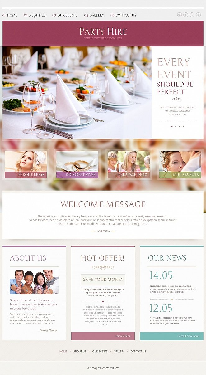 Event Planning Website Design in Pastel Colors - image