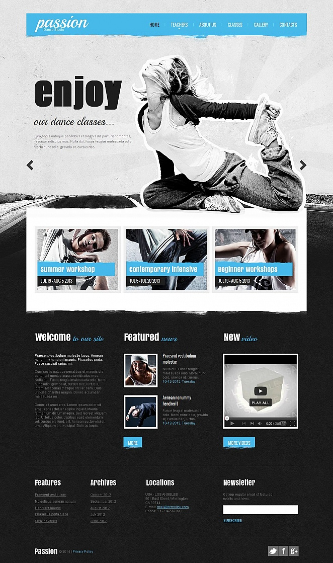 Grunge Website Template for Dance Studio - image