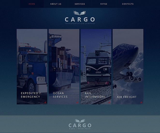 Blue Marine Transportation Web Design with Creative Homepage - image
