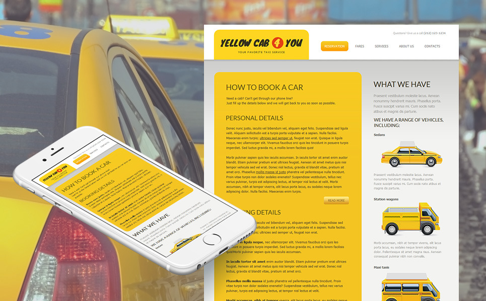 Template Moto CMS HTML  #50851 per Un Sito di Taxi New Screenshots BIG