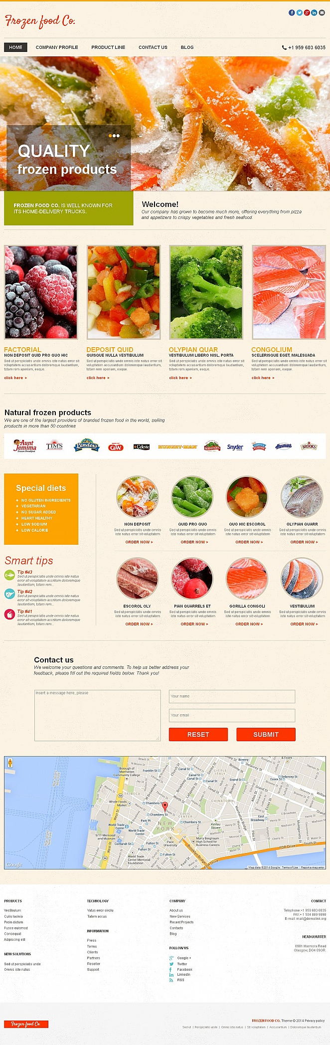 Frozen Food Website Template with Image Slider - image