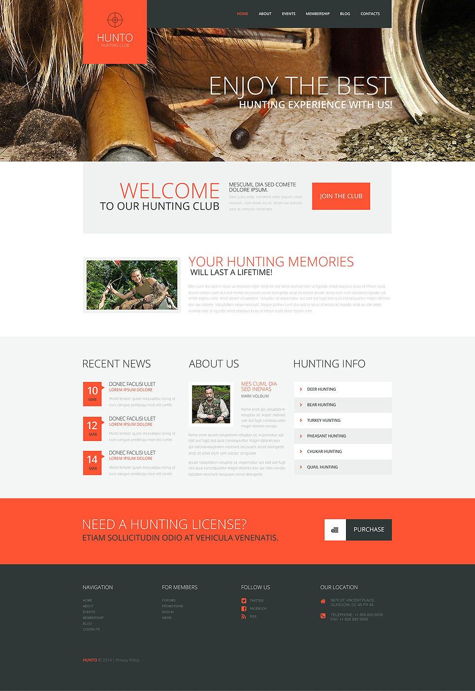 Адаптивный шаблон сайта на тему охота #50805