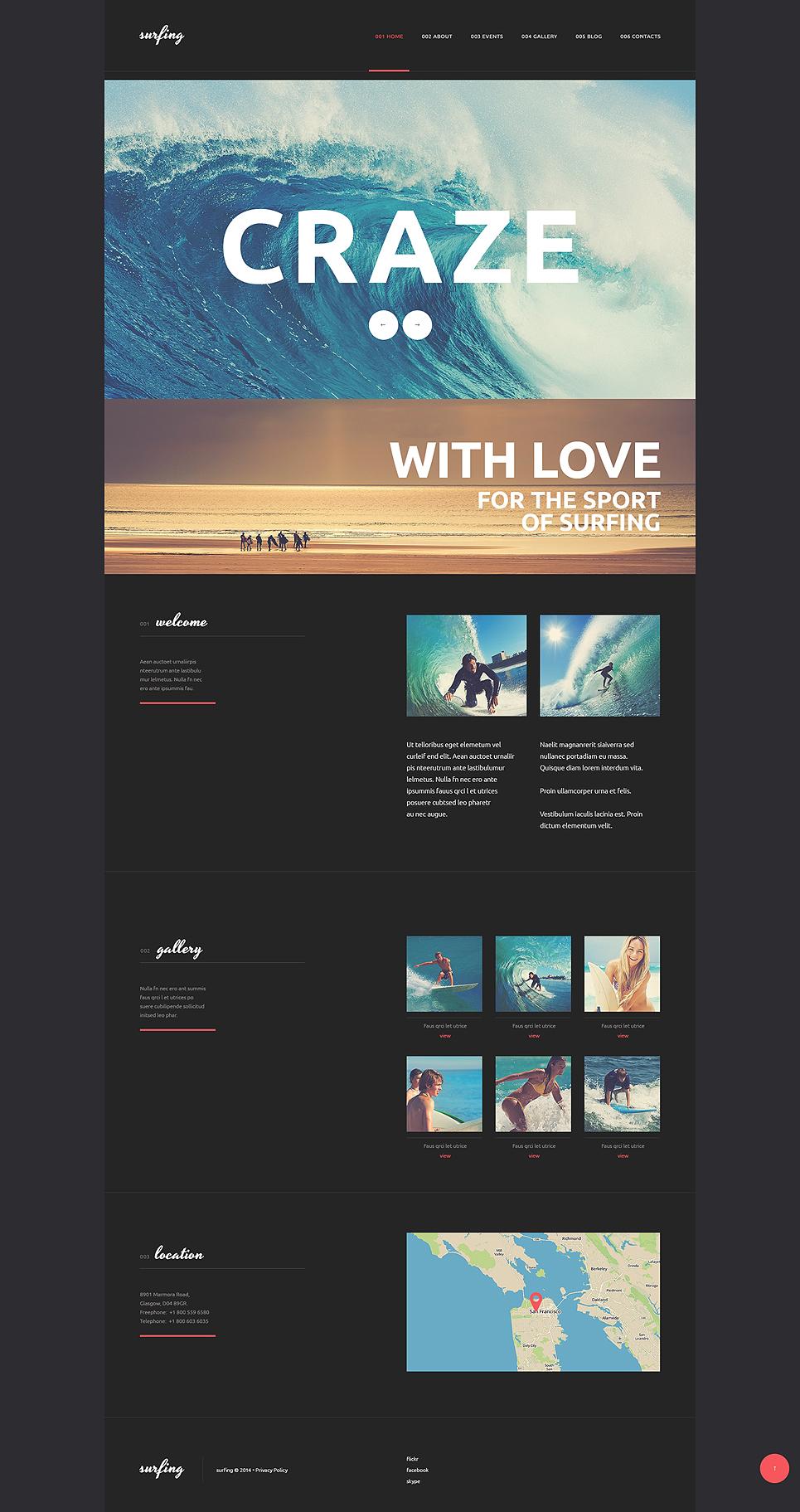 Адаптивный шаблон сайта на тему серфинг #50812