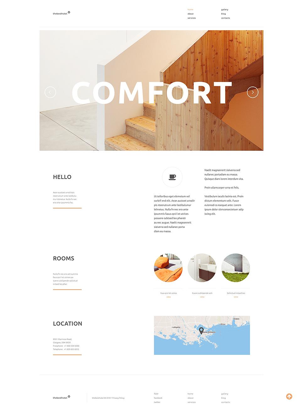 Адаптивный шаблон сайта на тему отели #50862