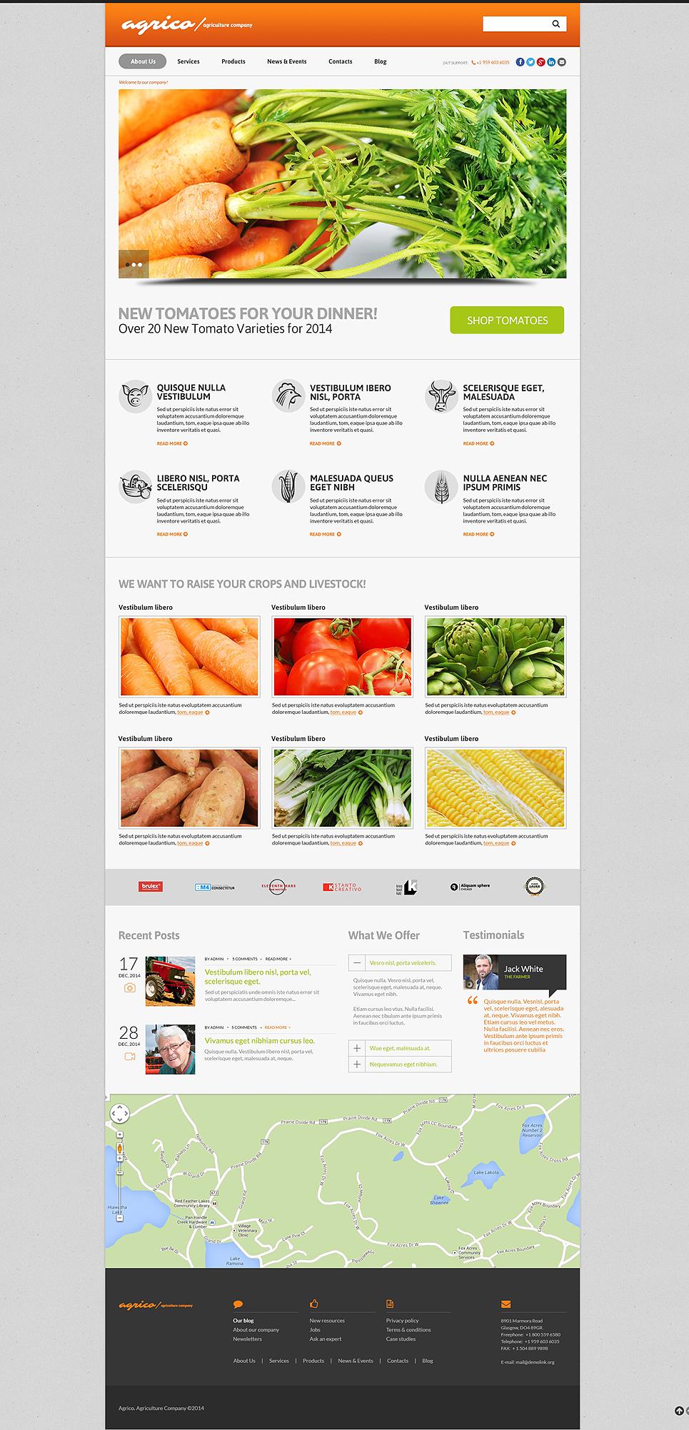 Адаптивный шаблон сайта на тему сельское хозяйство #50863