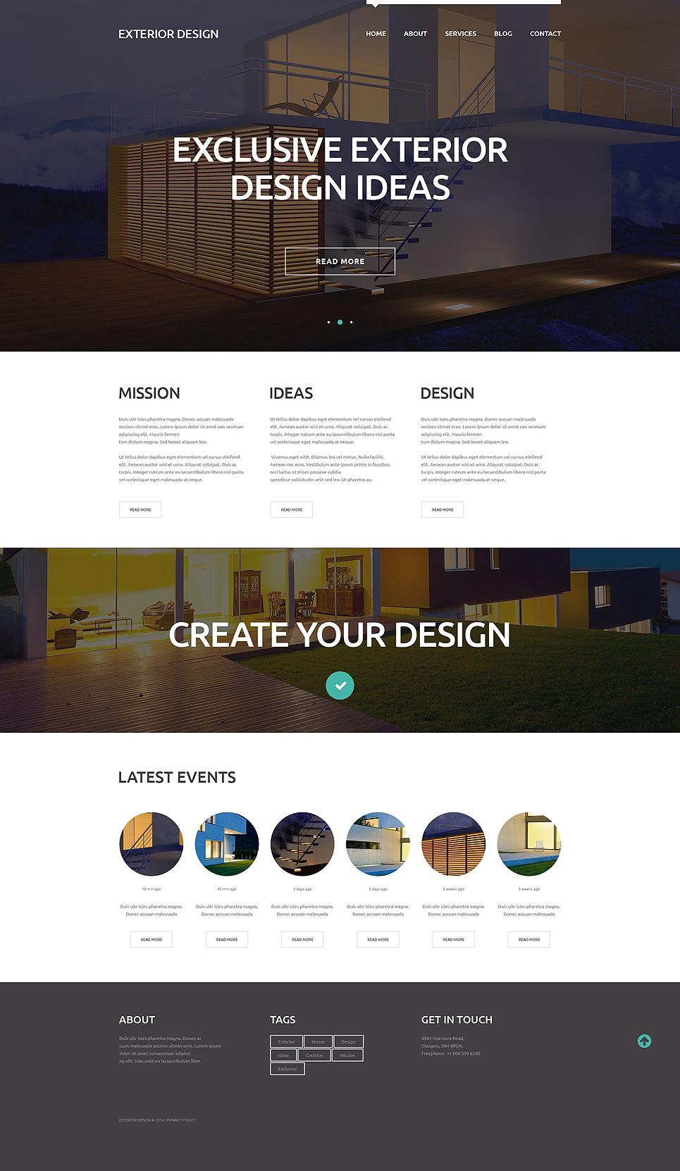 Адаптивный шаблон сайта на тему дизайн экстерьера #50875
