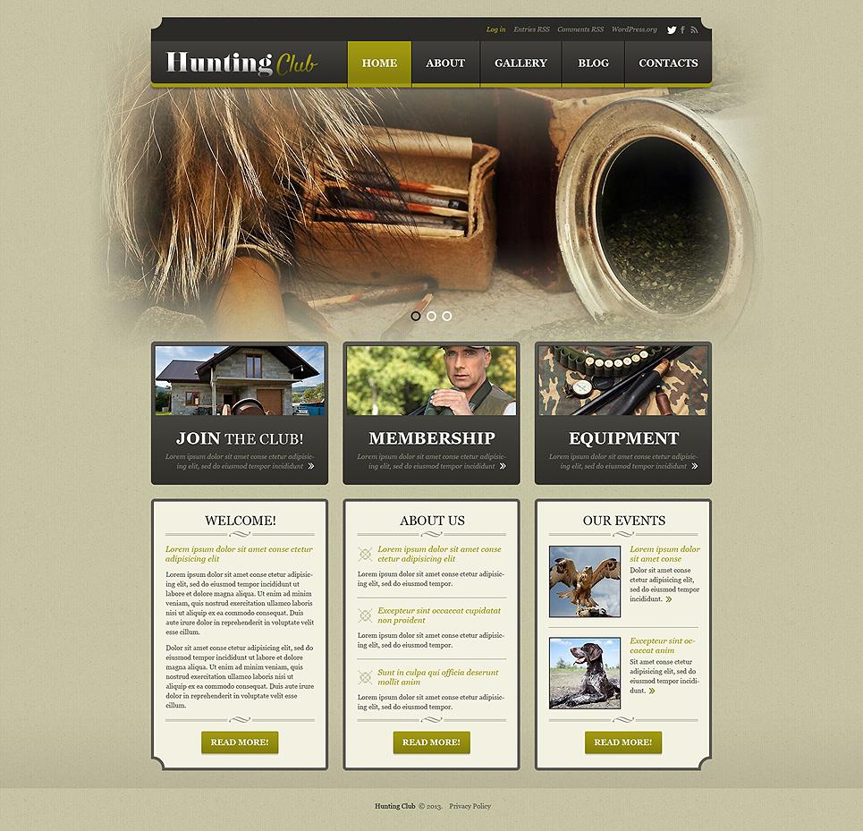 Адаптивный шаблон сайта на тему охота #50880
