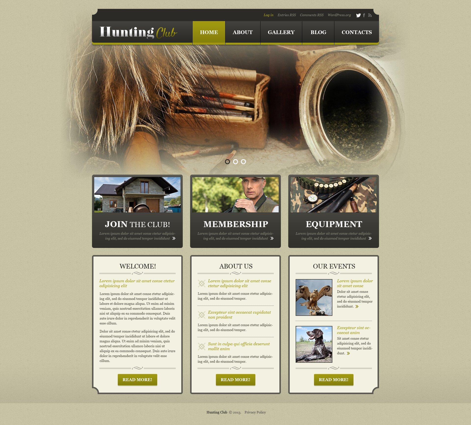 Адаптивный WordPress шаблон №50880 на тему охота