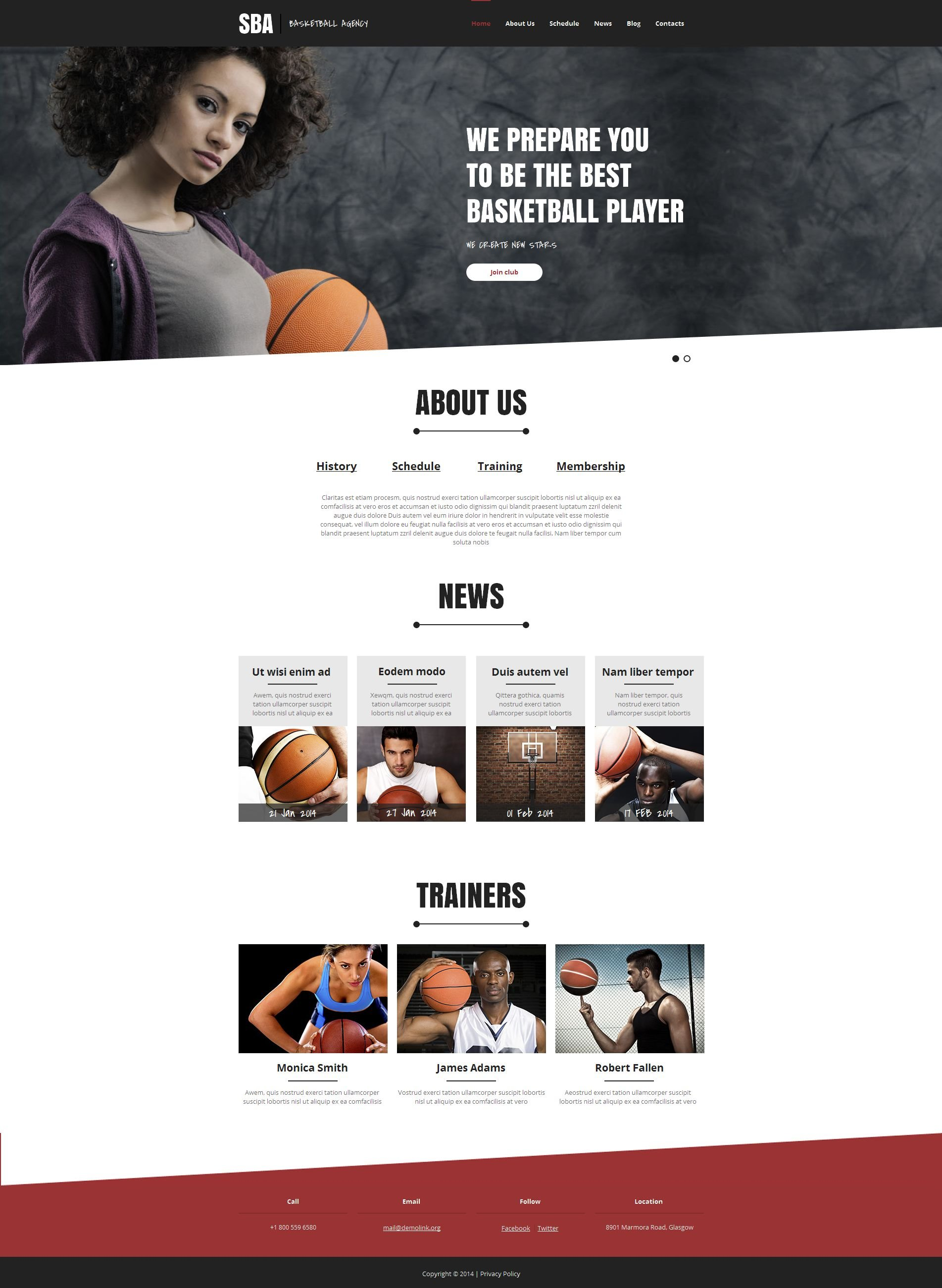 Basketball Moto CMS HTML Template