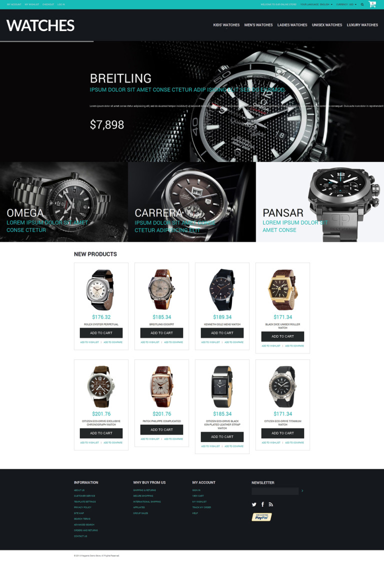 Buy Watches Magento Theme New Screenshots BIG