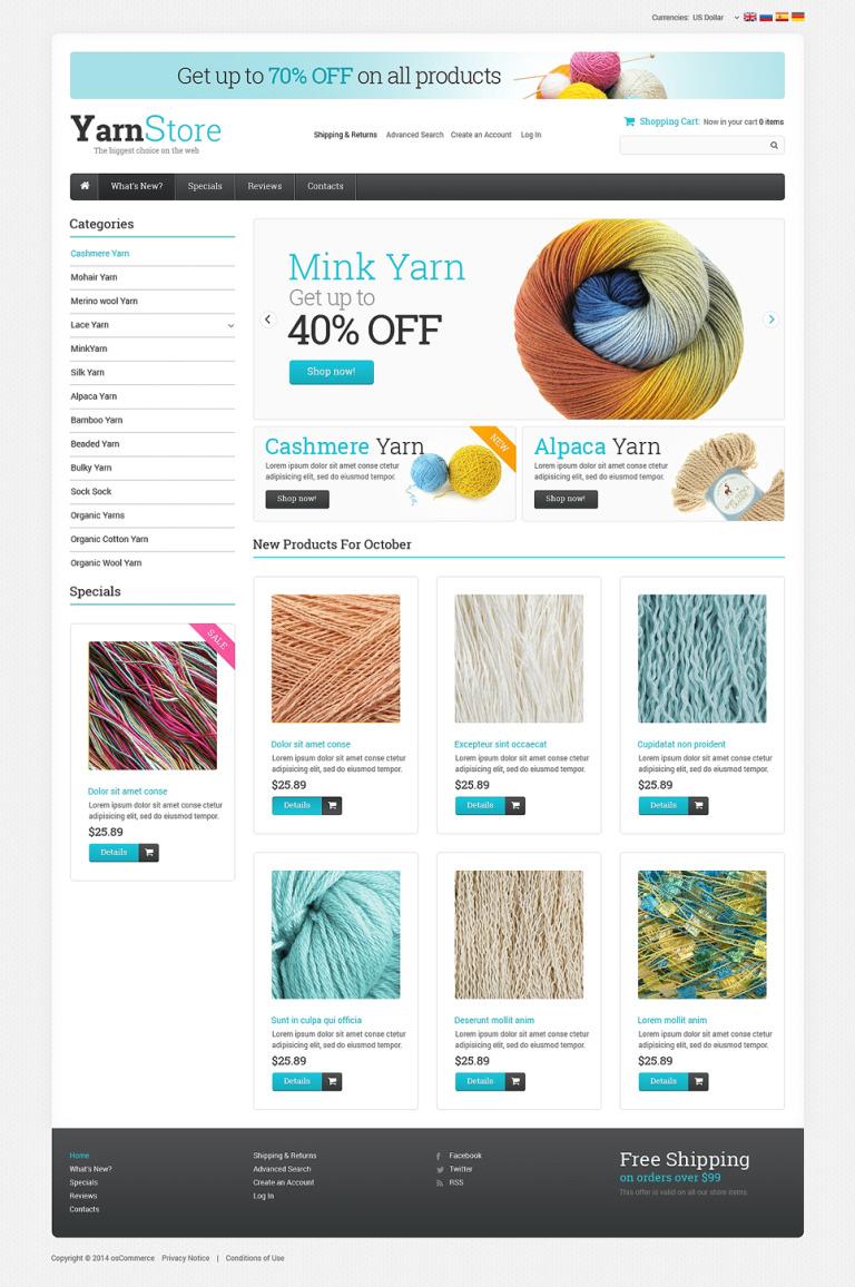 Crafts OsCommerce Template New Screenshots BIG