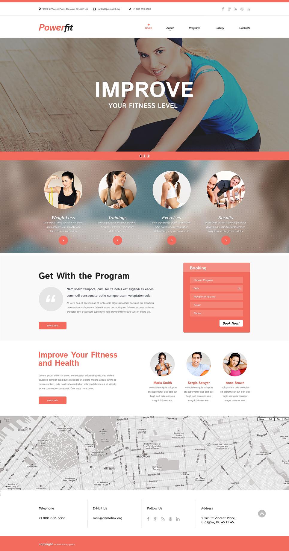 fitness responsive website template 50818