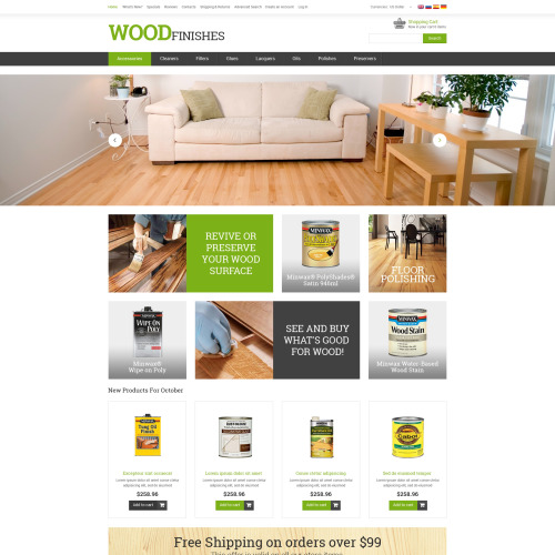 Wood Finishes   - osCommerce Template