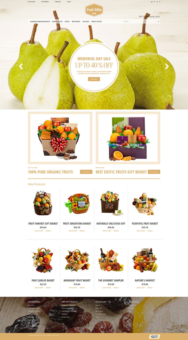 Fruit Gifts Magento Theme New Screenshots BIG