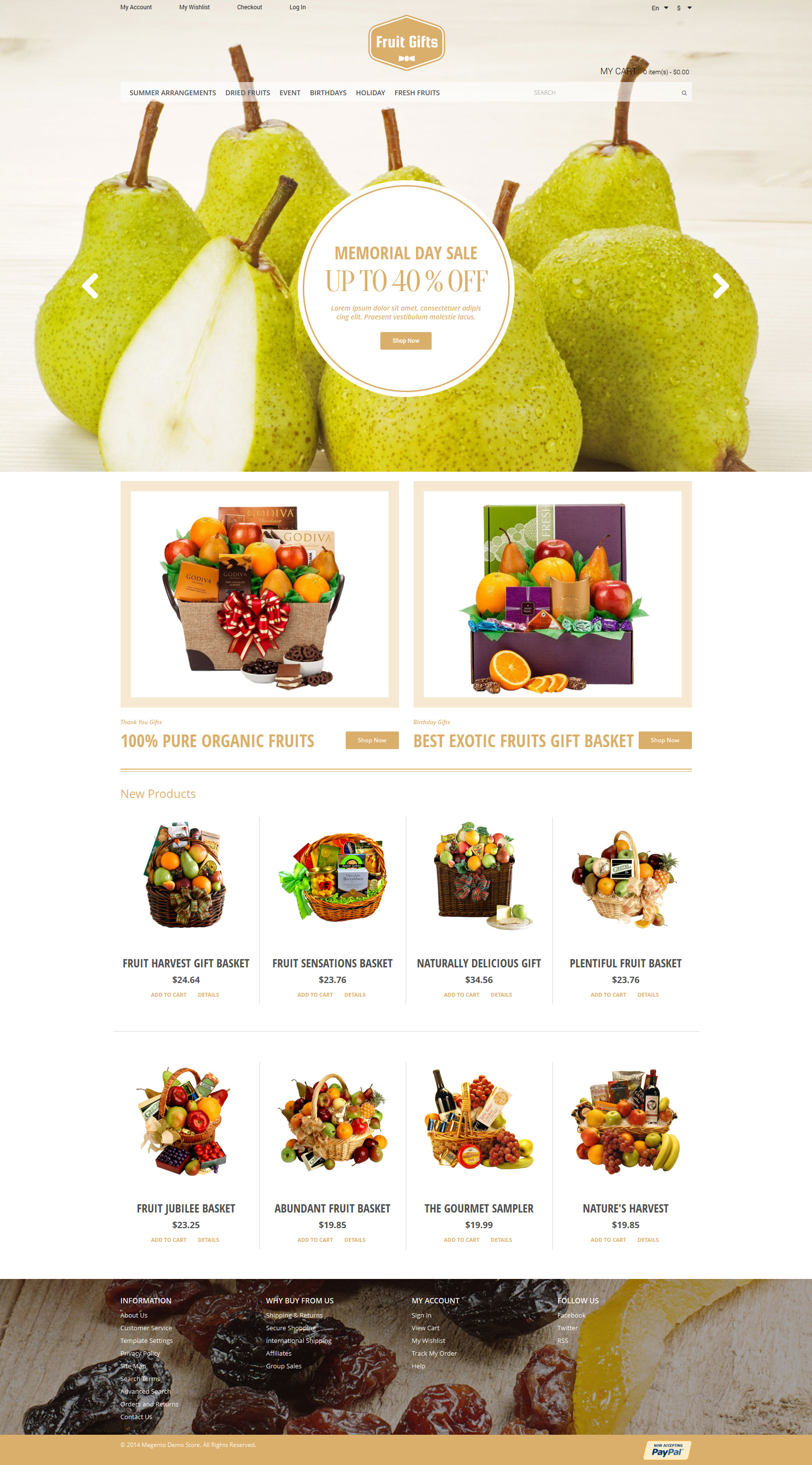 Fruit Gifts Tema Magento №50859 - captura de tela
