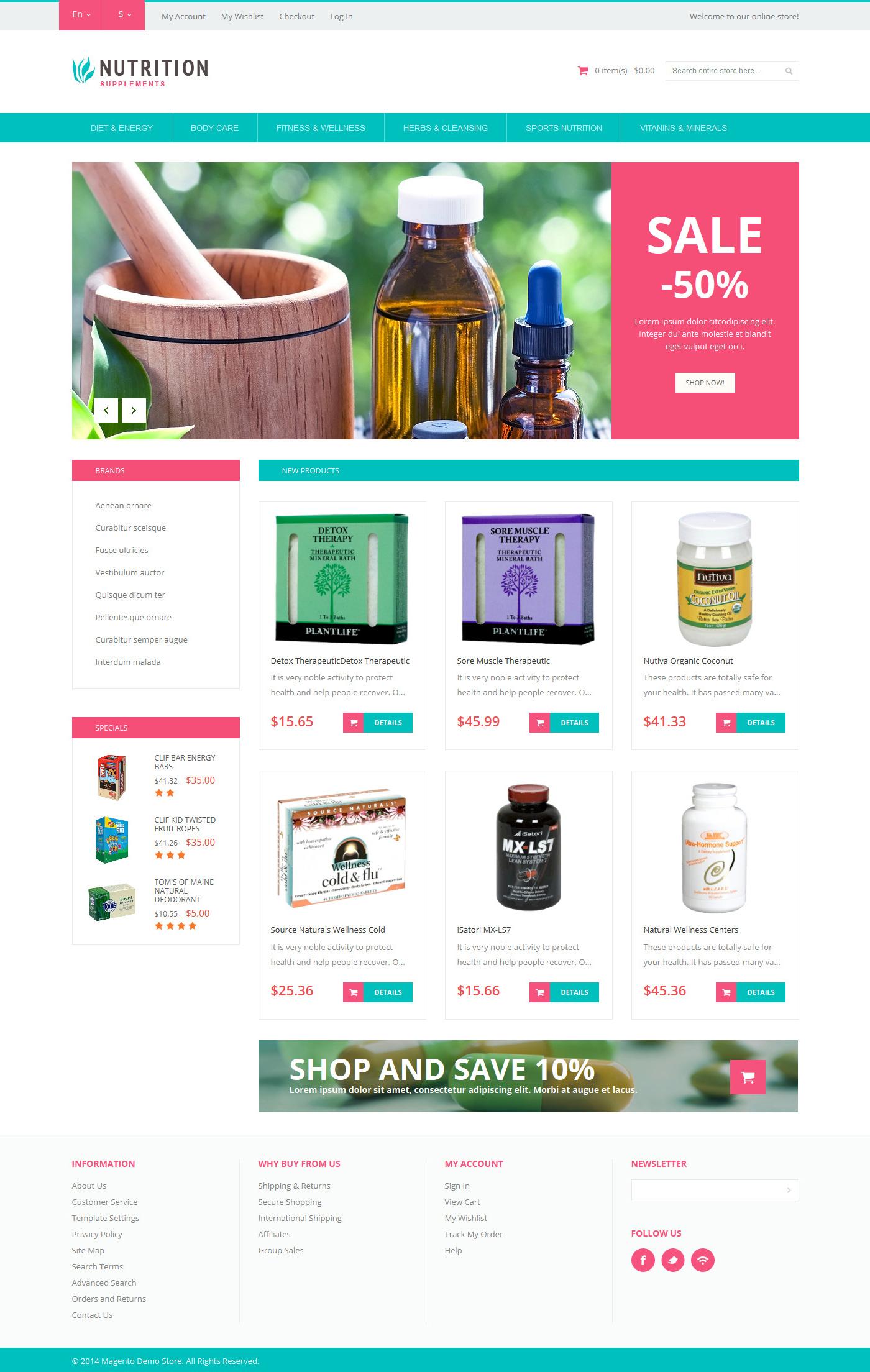 """""""Healthy Life Supplements"""" thème Magento adaptatif #50883 - screenshot"""
