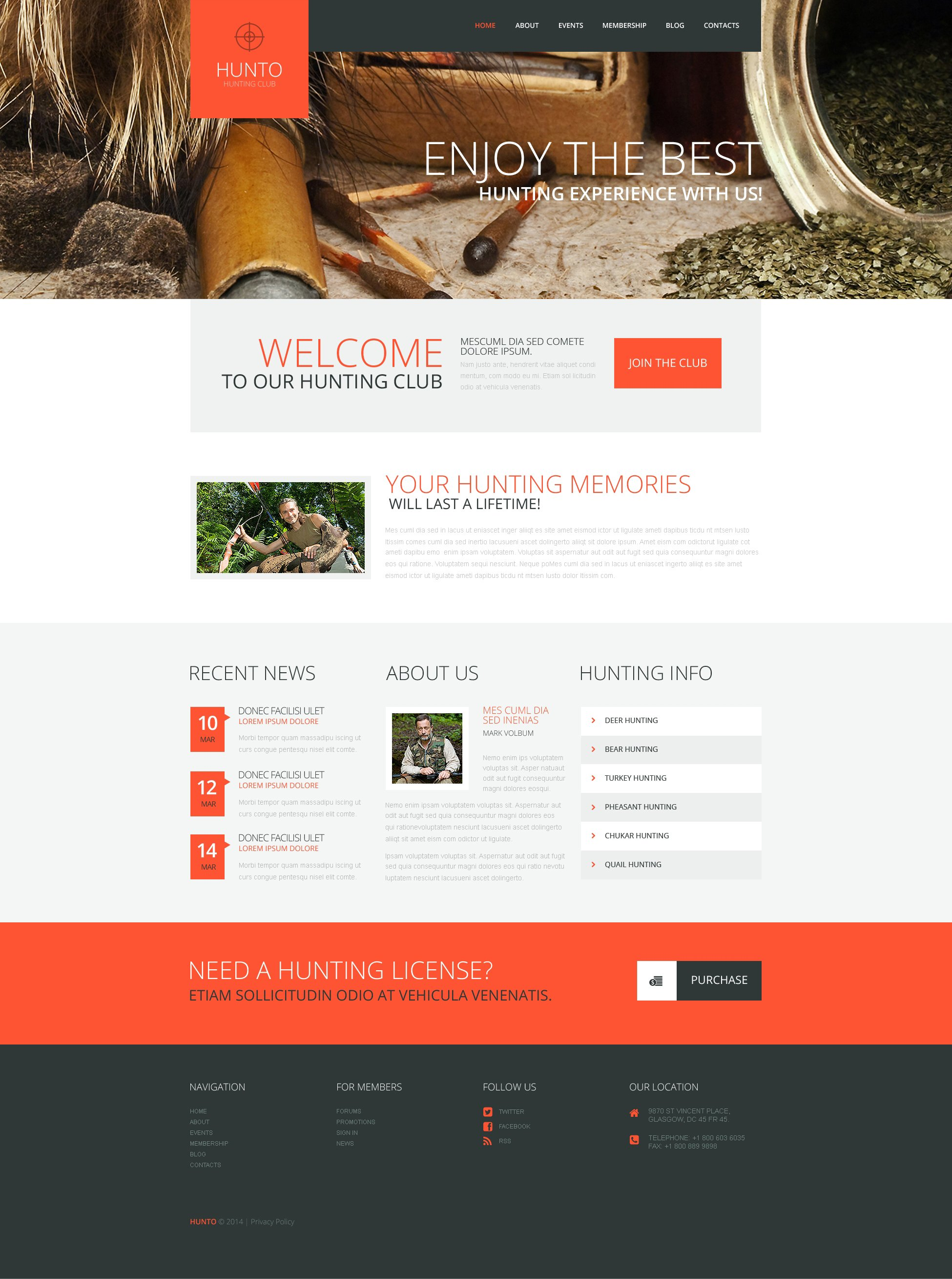 Hunting Club WordPress Theme - screenshot