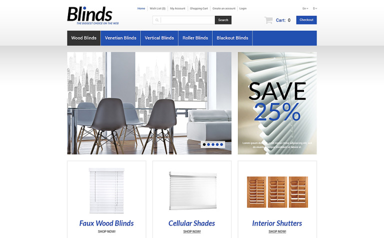 Interior Blinds and Curtains OpenCart Template