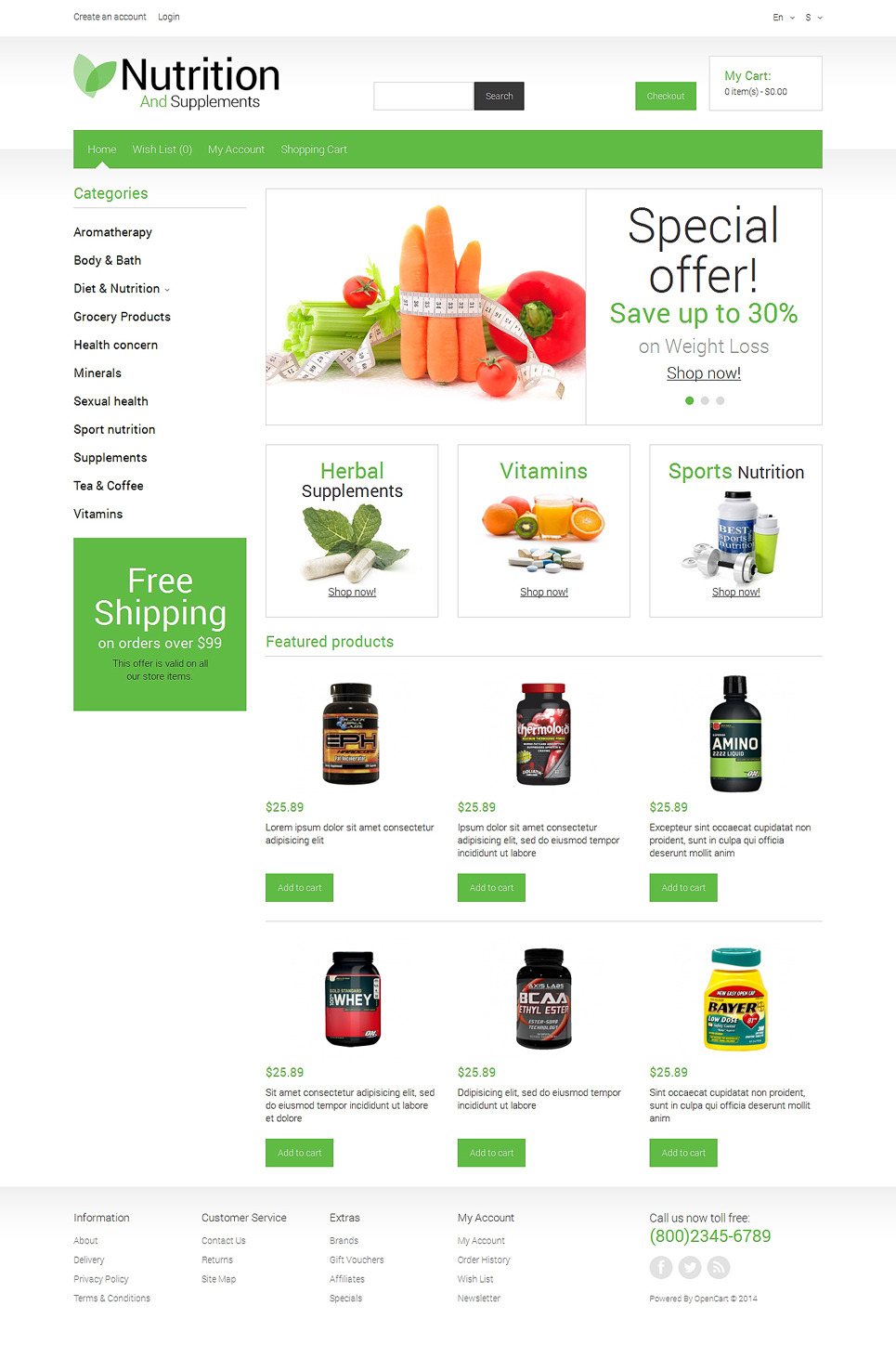 Nutrition Store Responsive OpenCart Template New Screenshots BIG