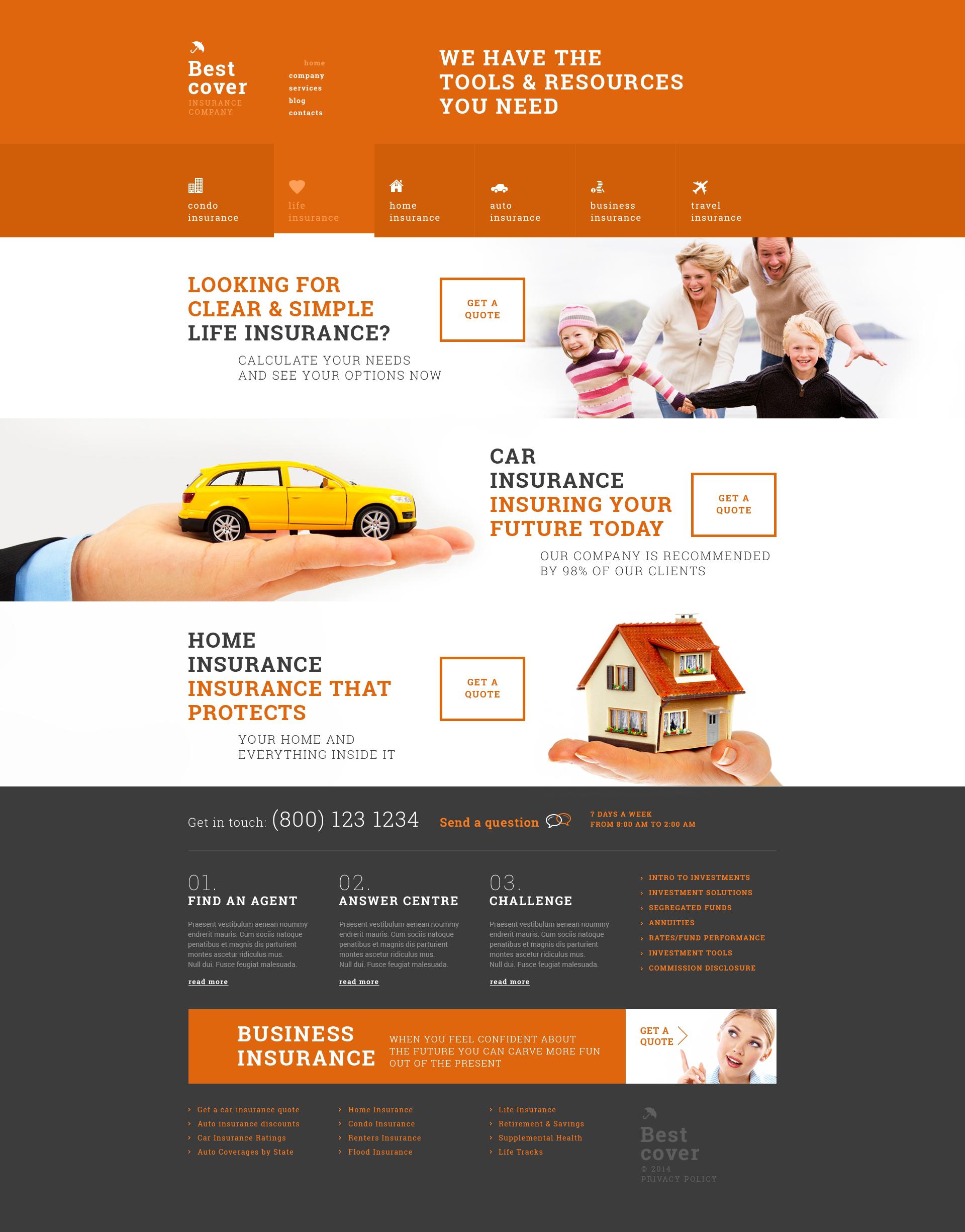"""Online Insurance Services"" - адаптивний WordPress шаблон №50804 - скріншот"