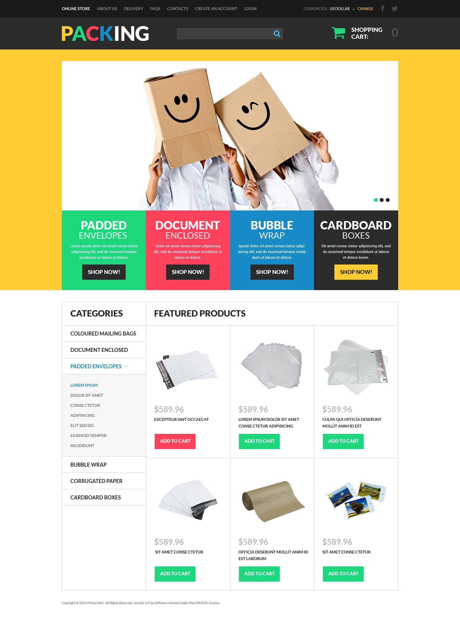 Packing Products Store VirtueMart Template