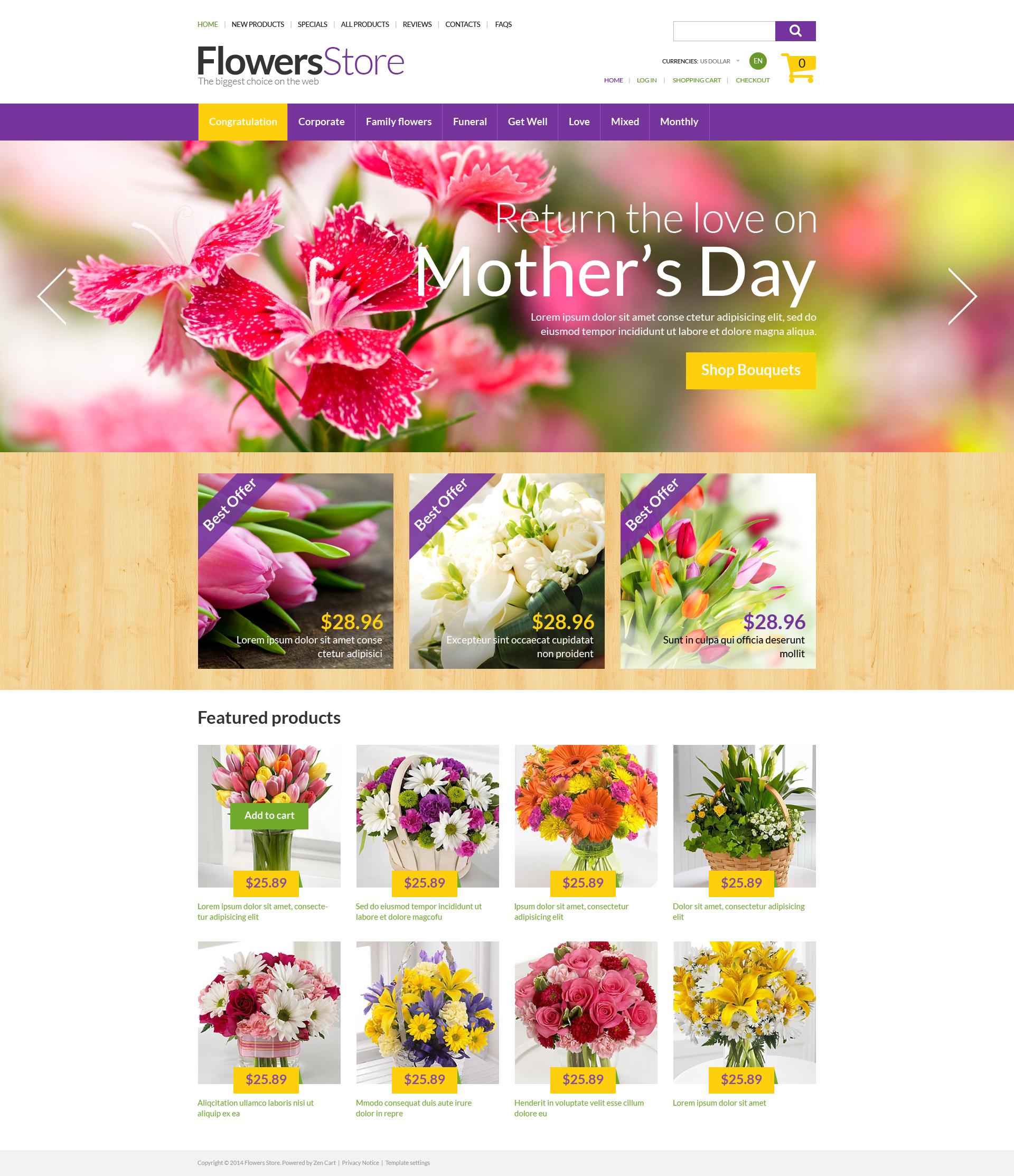 "Plantilla ZenCart ""All Occasion Flowers"" #50876"