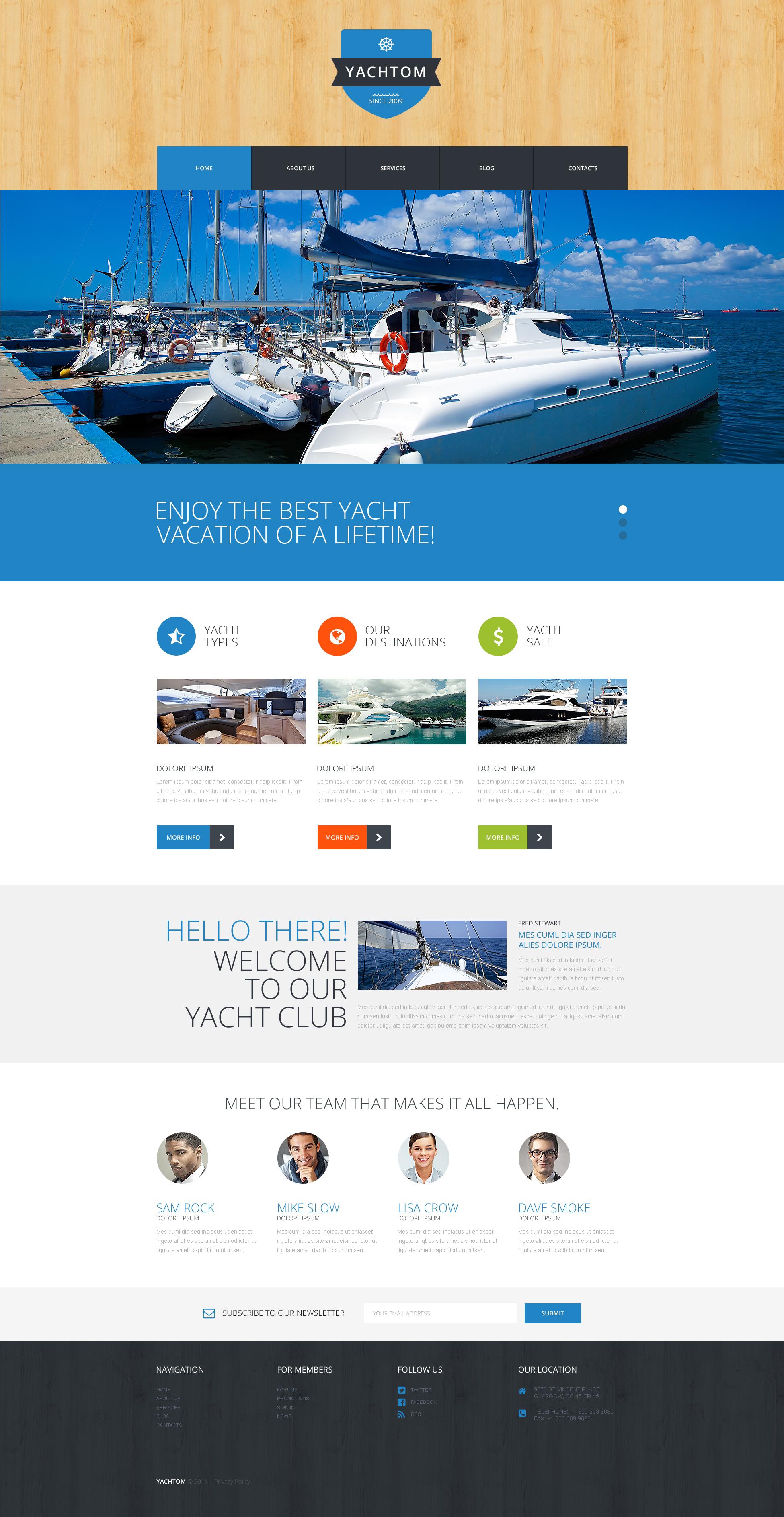"""Pleasant Yachting Experience"" - адаптивний WordPress шаблон №50885 - скріншот"