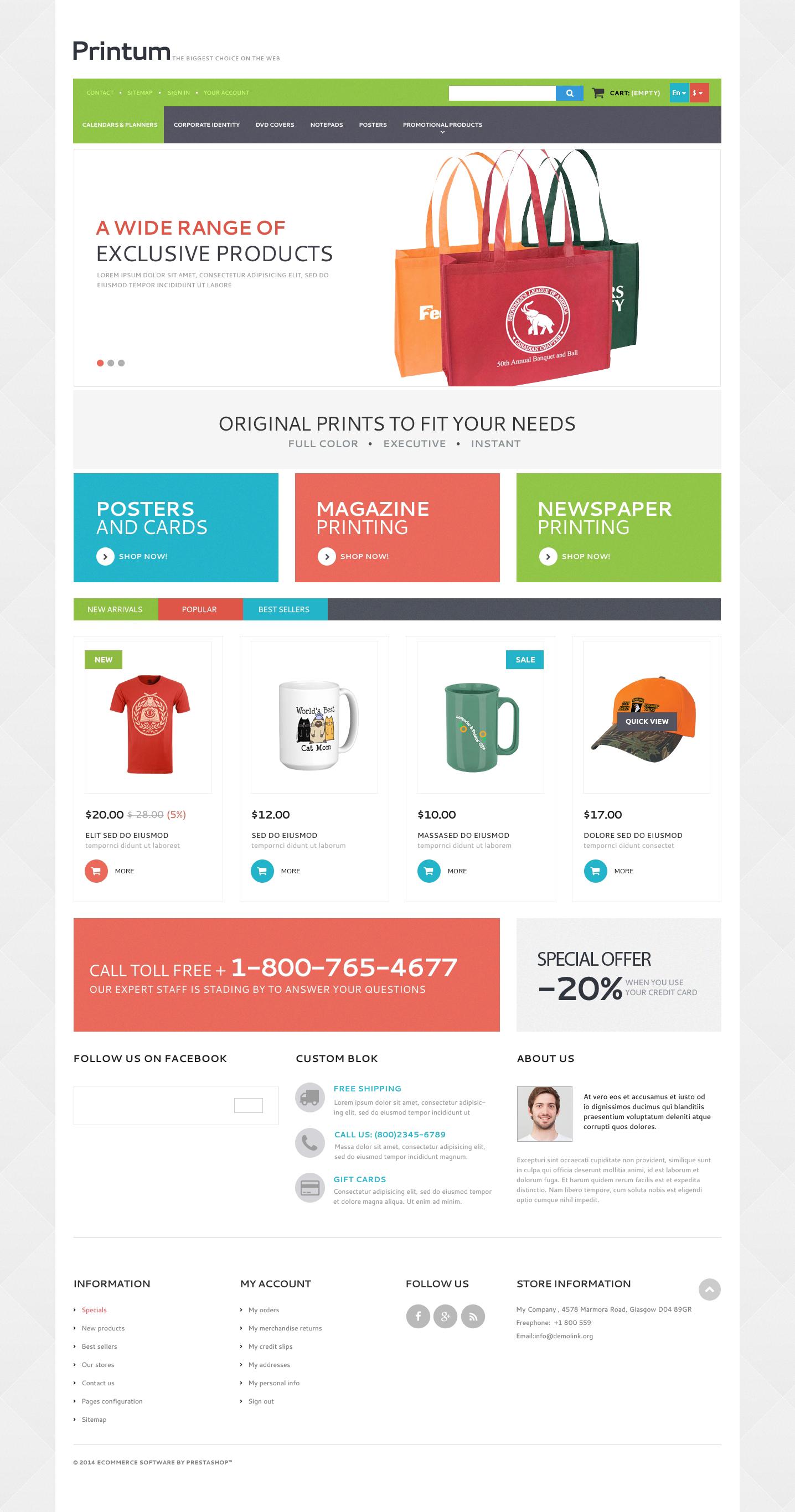 PrestaShop Theme für Druckerei