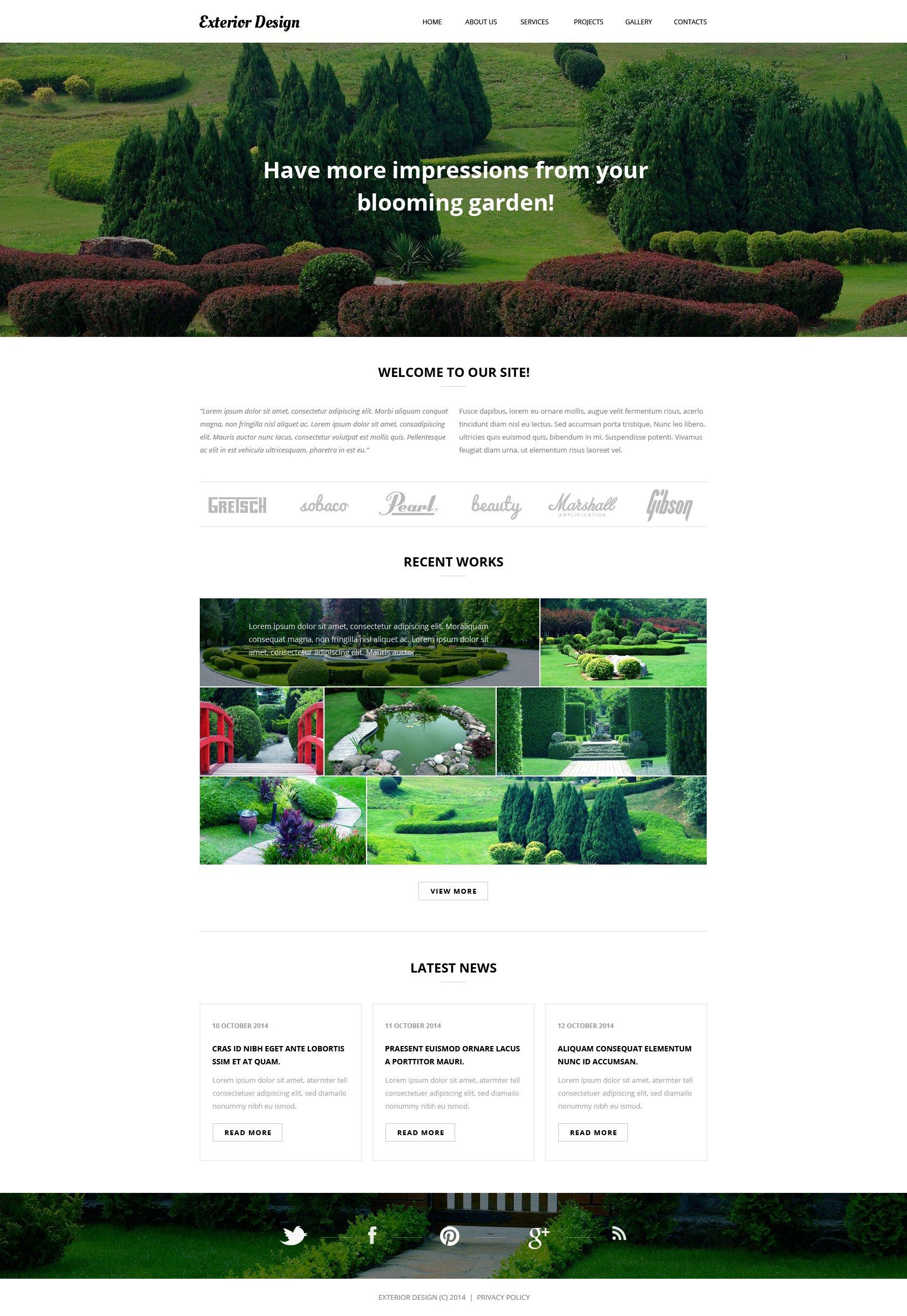 Responsive Website Vorlage für Gartendesign #50866